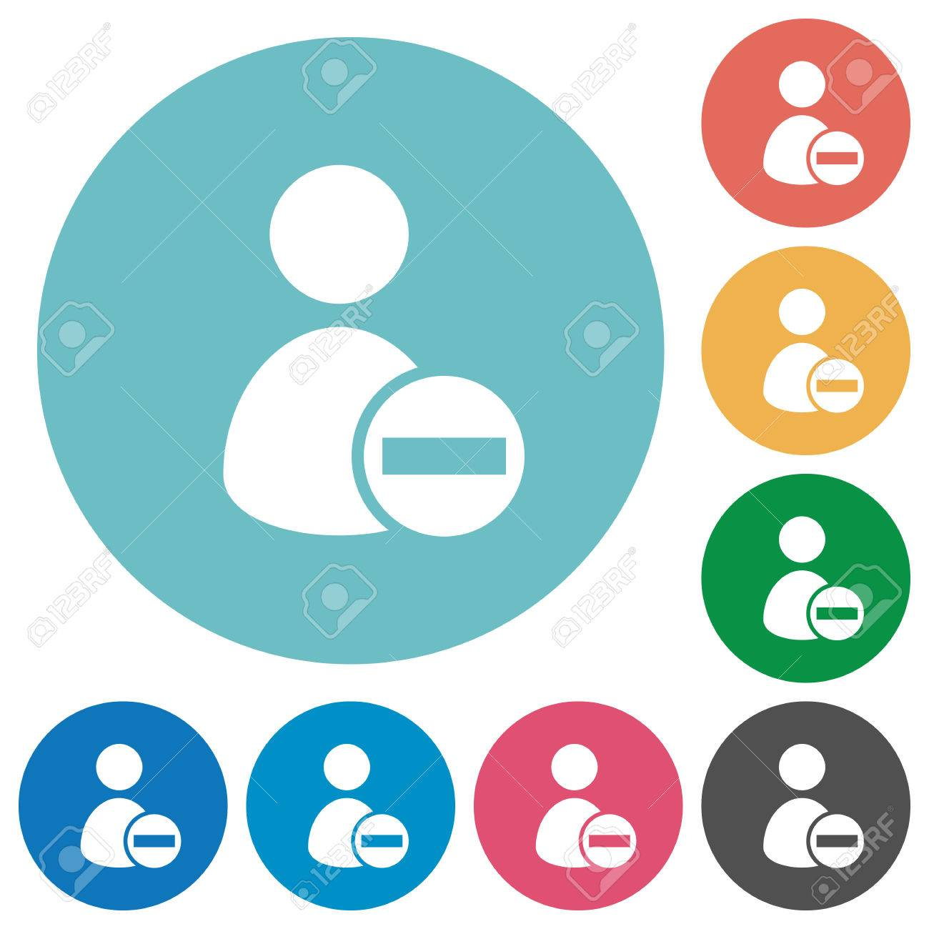 Flat Remove User Profile Icon Set On Round Color Background Royalty