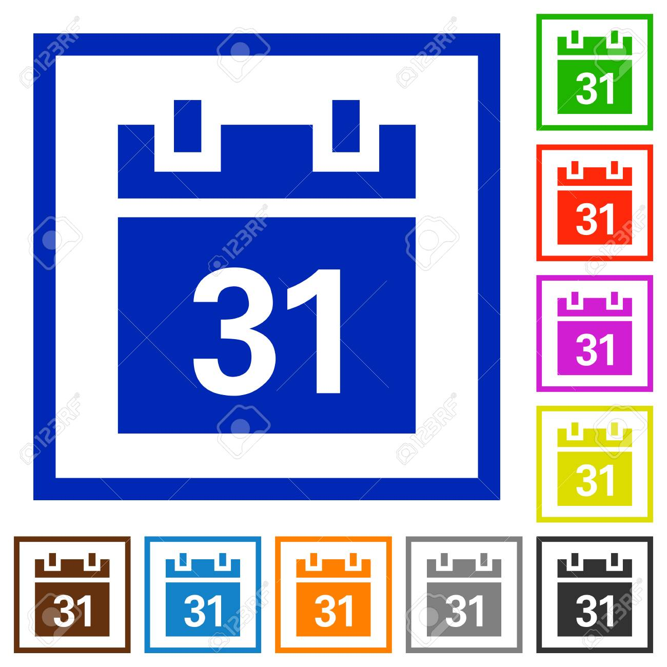 Set Of Color Square Framed Calendar Flat Icons On White Background ...