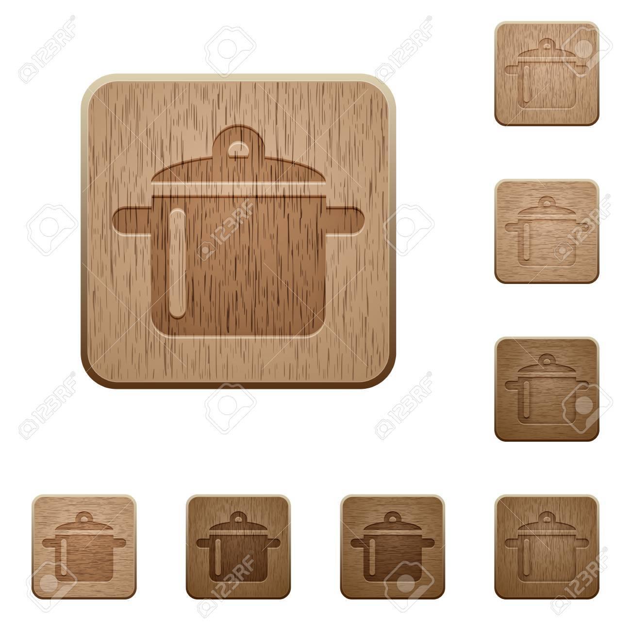 Ensemble De Boutons De Cuisine En Bois Sculpte En 8 Variantes