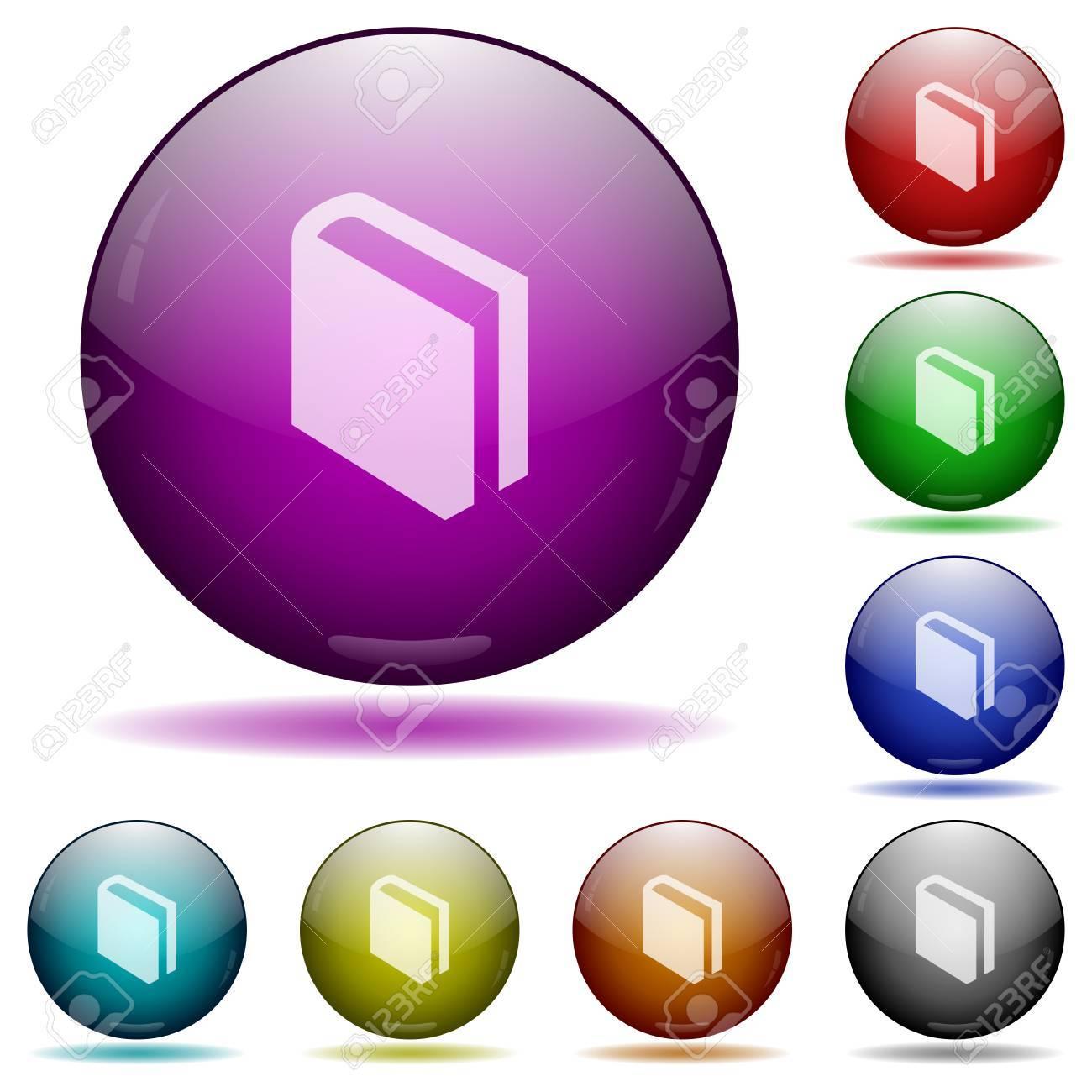 Set Farben Buch Glaskugel Buttons Mit Schatten. Lizenzfrei Nutzbare ...