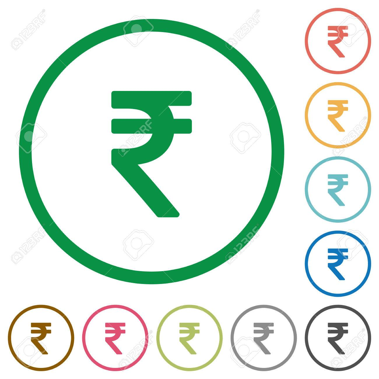 Set Of Indian Rupee Sign Color Round Outlined Flat Icons On White ...
