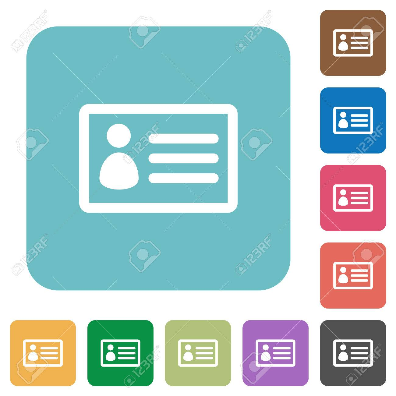 flat id card icons on rounded square color backgrounds royalty free
