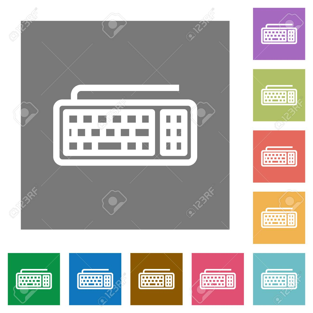 Computer keyboard flat icon set on color square background