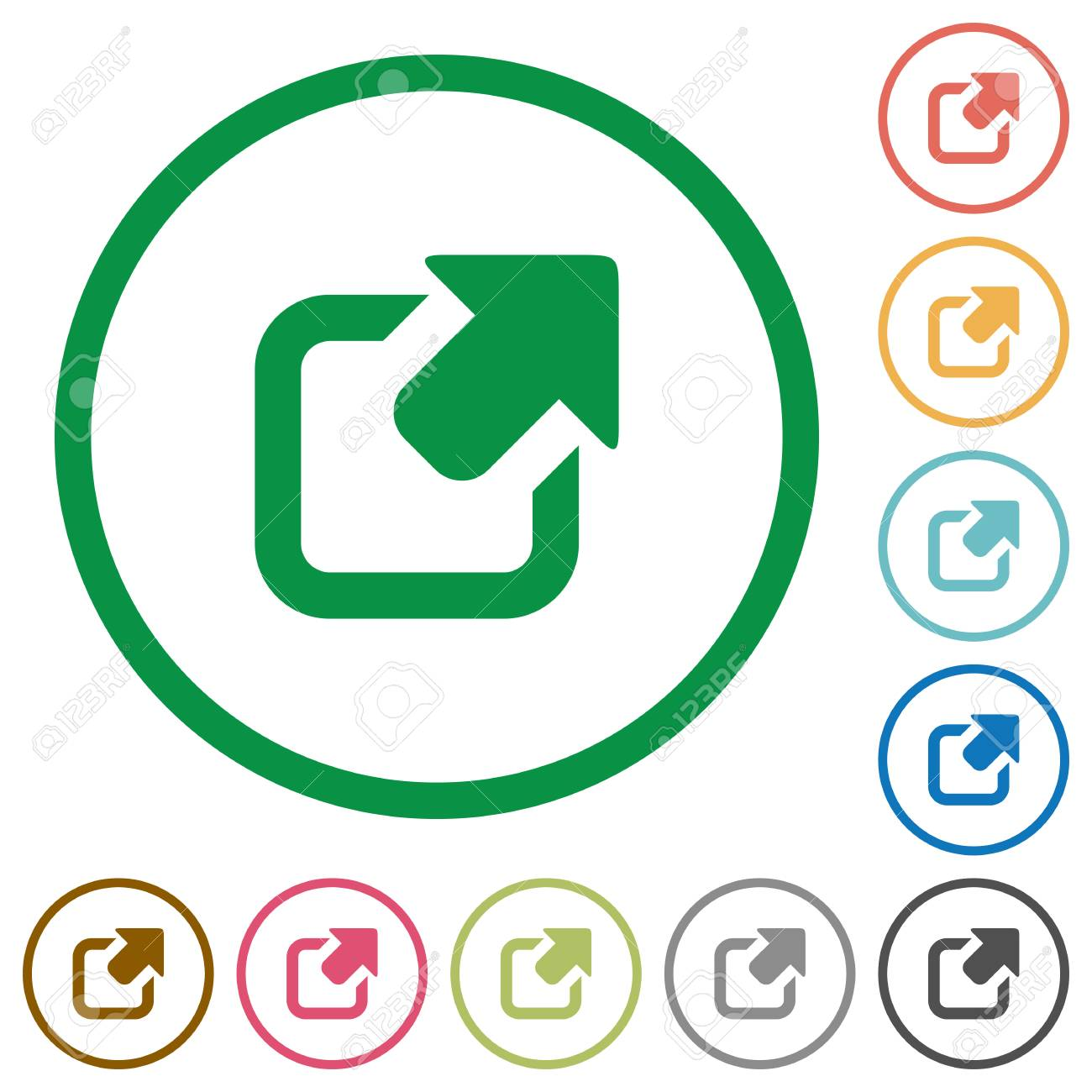 Set Of Export Color Round Outlined Flat Icons On White Background ...