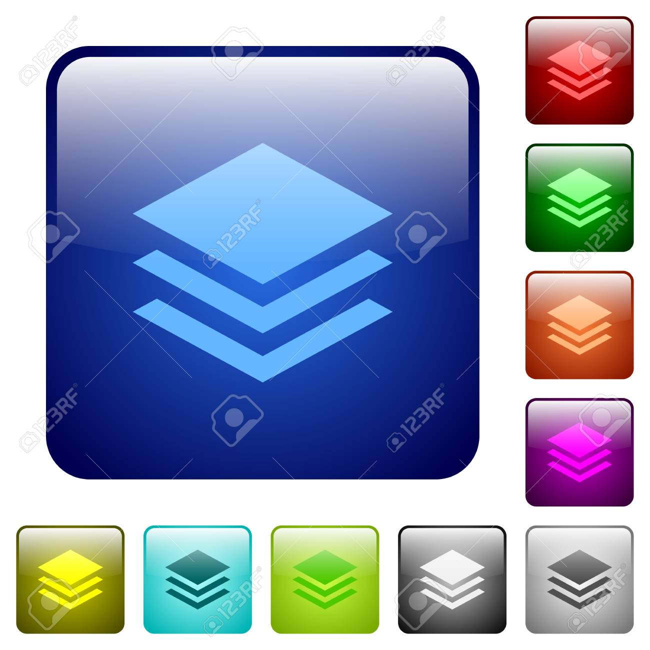 Set Of Layers Color Glass Rounded Square Buttons Royalty Free