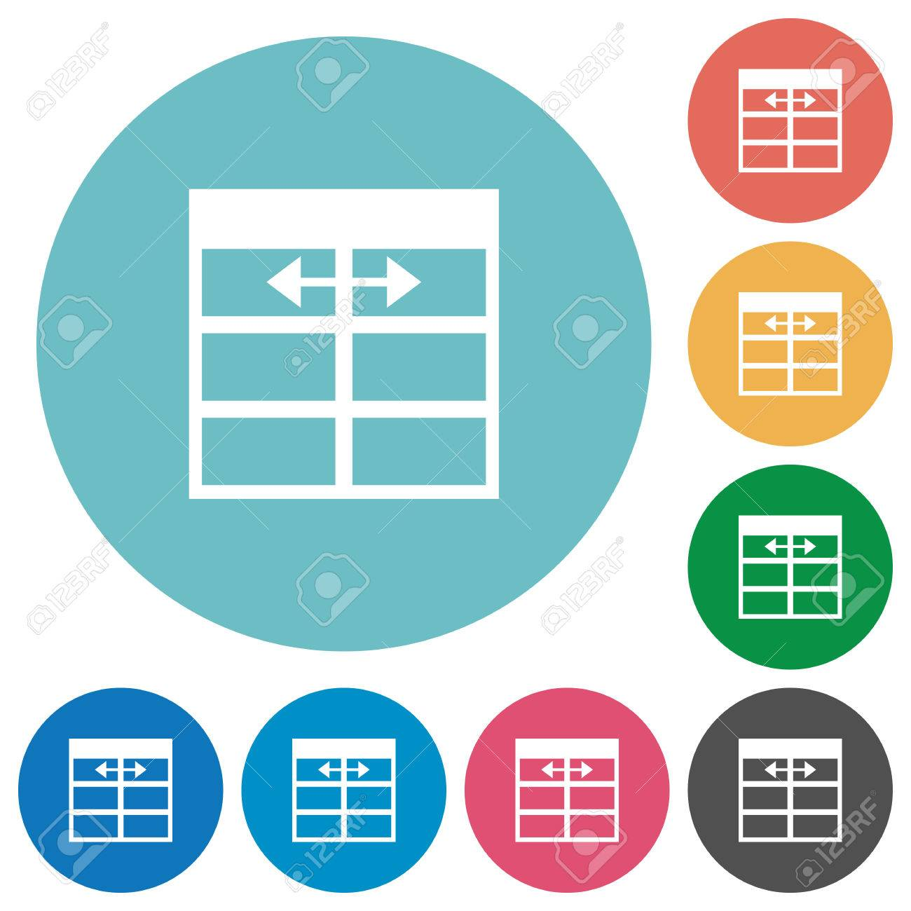 Flat Spreadsheet adjust table column width icon set on round color background. Stock Vector -  sc 1 st  123RF.com & Flat Spreadsheet Adjust Table Column Width Icon Set On Round ...