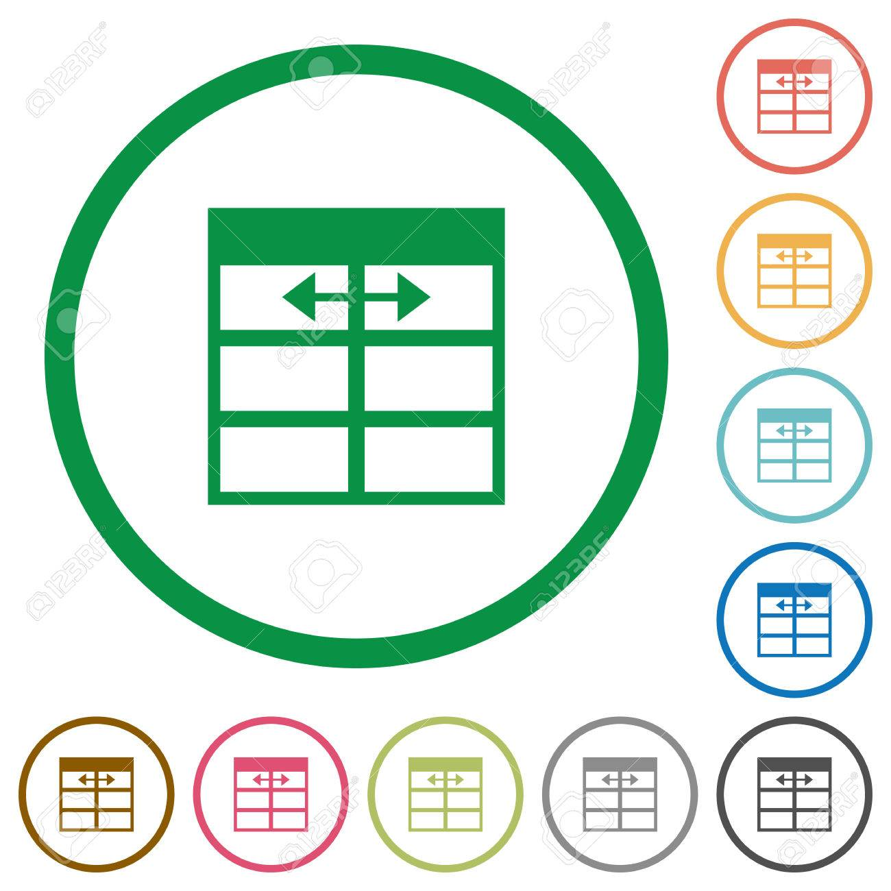 Set of Spreadsheet adjust table column width color round outlined flat icons on white background Stock  sc 1 st  123RF.com & Set Of Spreadsheet Adjust Table Column Width Color Round Outlined ...