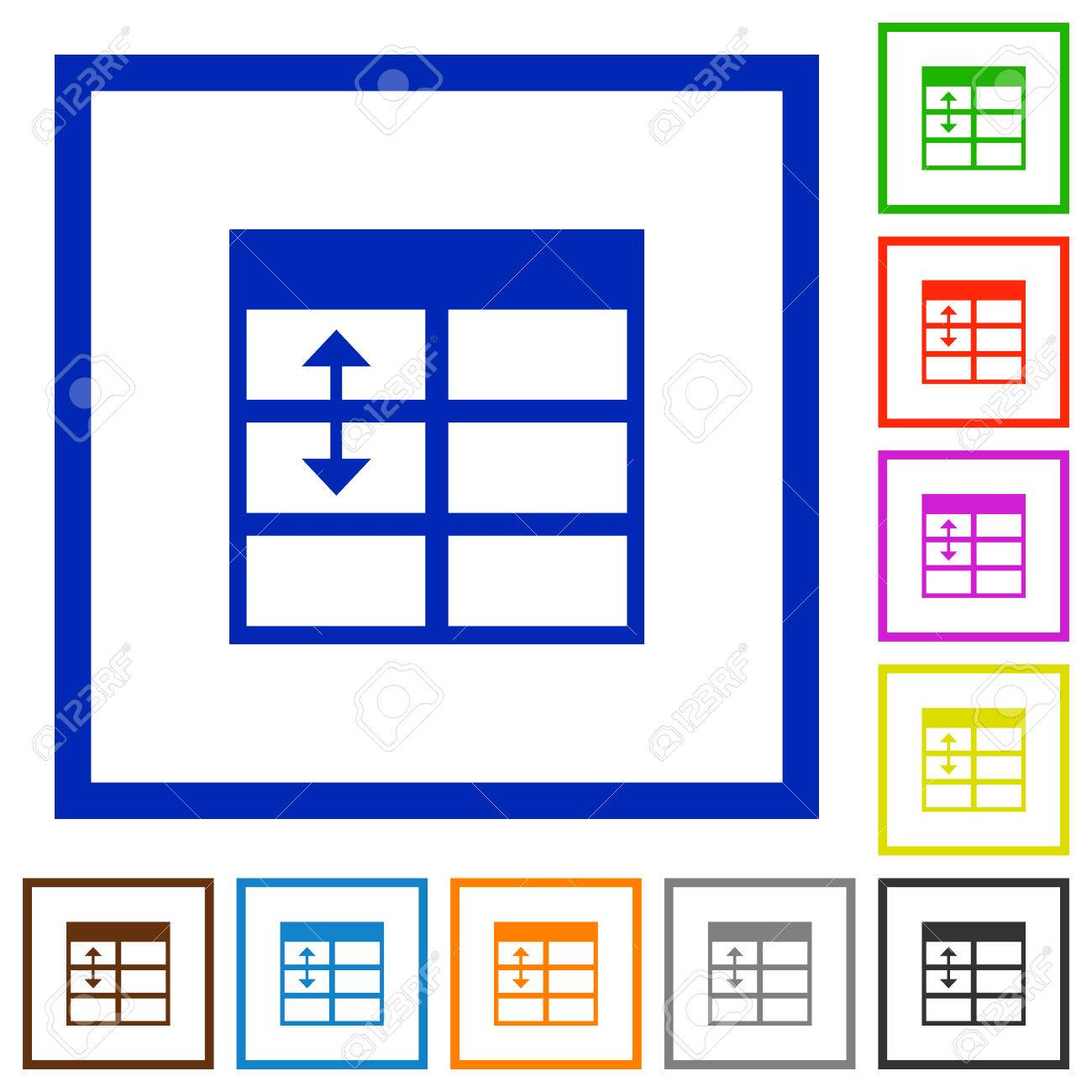 Set of color square framed Spreadsheet adjust table row height flat icons Stock Vector - 64073497  sc 1 st  123RF.com & Set Of Color Square Framed Spreadsheet Adjust Table Row Height ...