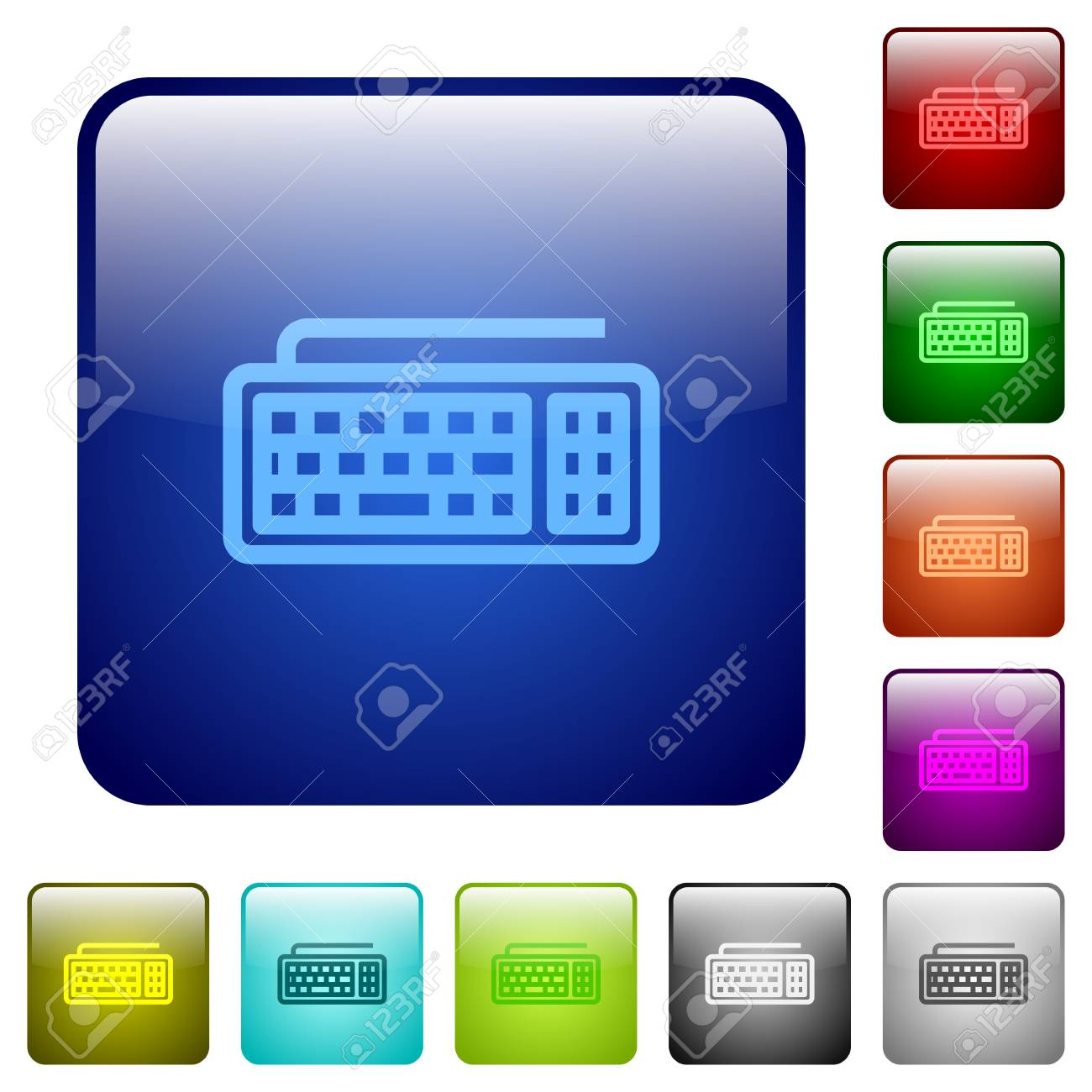 Set of computer keyboard color glass rounded square buttons