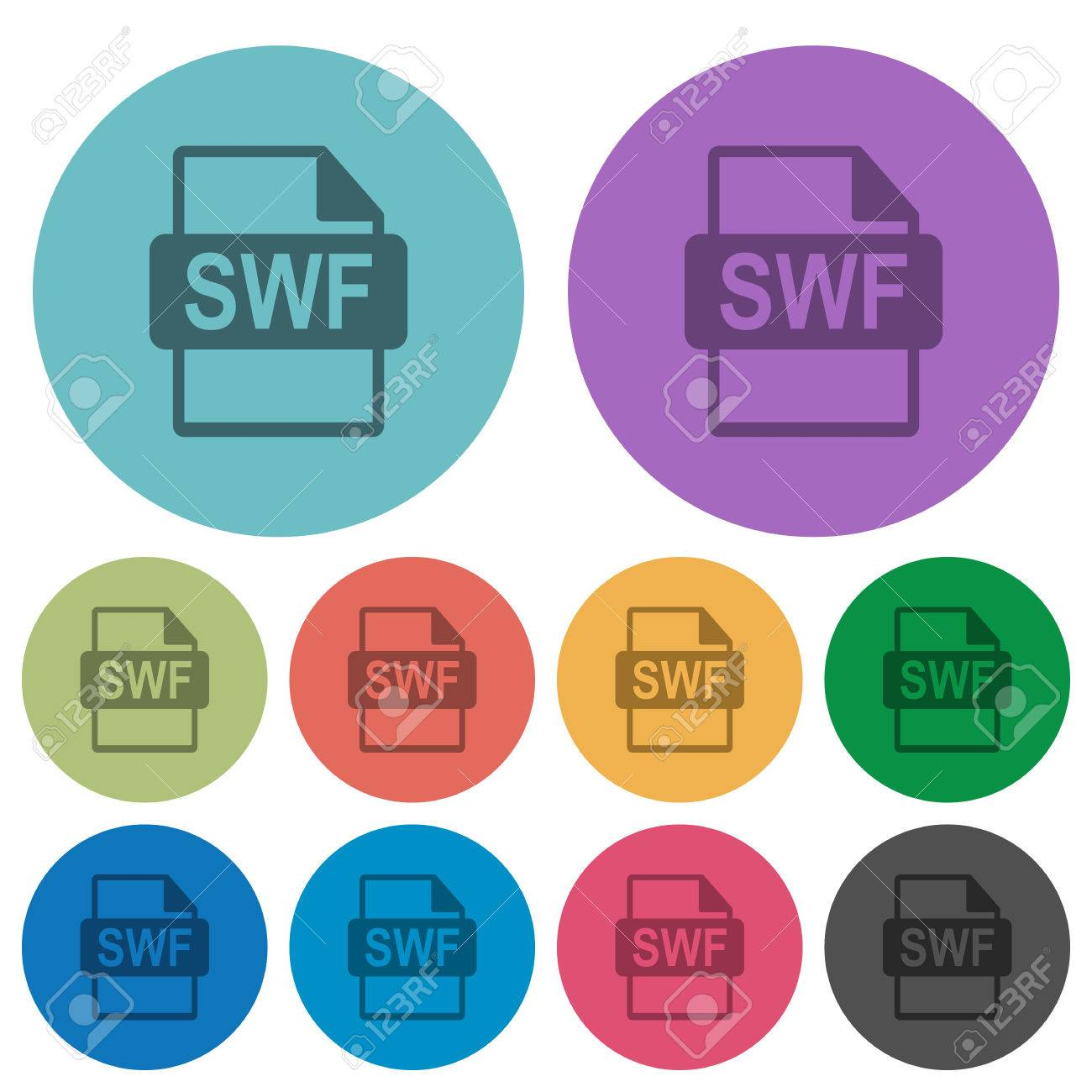 SWF file format flat icons on color round background