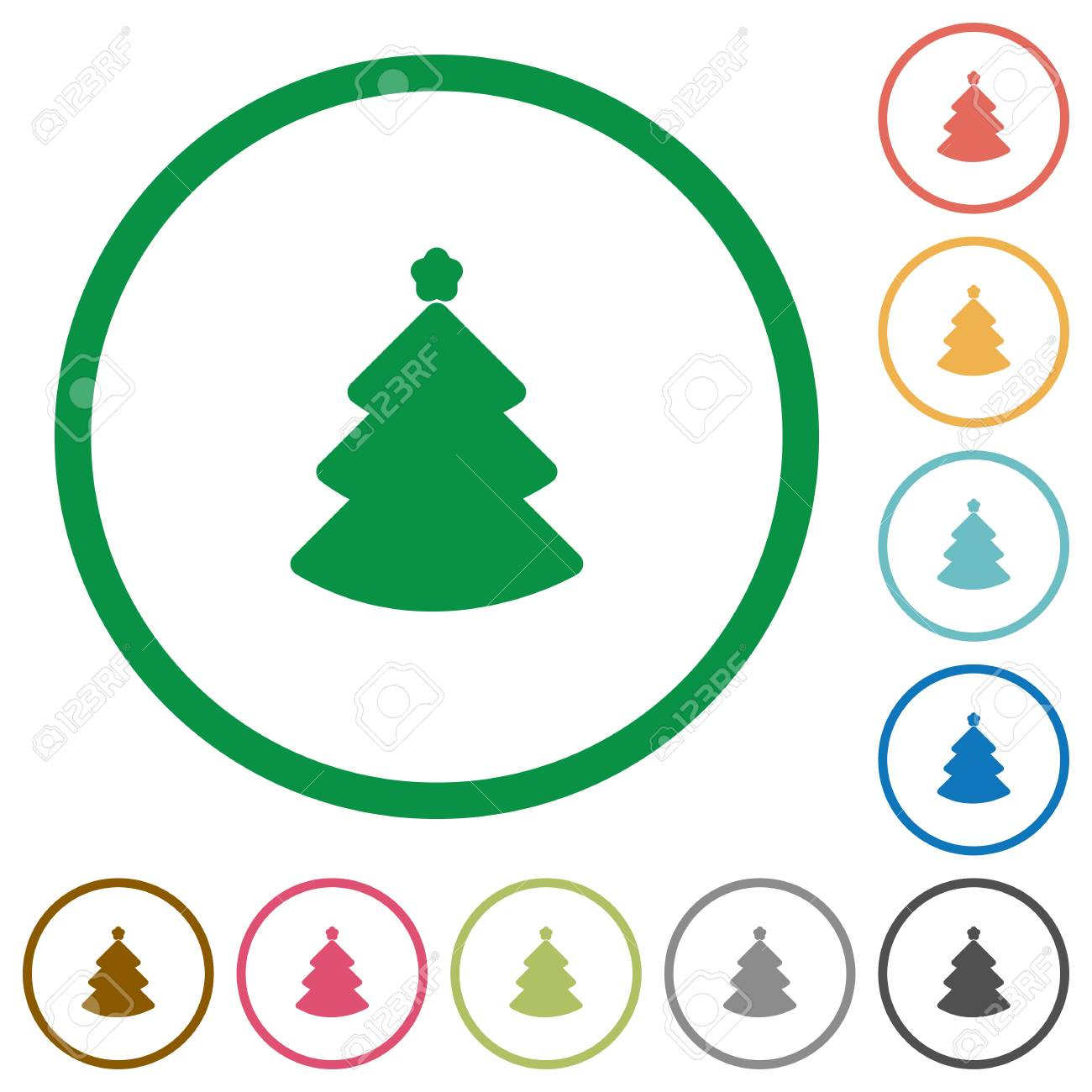 Christmas Tree Flat Color Icons In Round Outlines Royalty Free ...