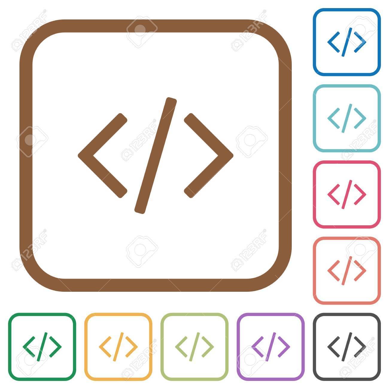 Programmierung Code Einfache Symbole In Farbe Gerundet Quadratischen ...