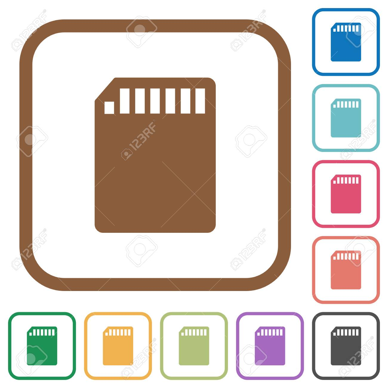 SD Memory Card Simple Icons In Color Rounded Square Frames On ...