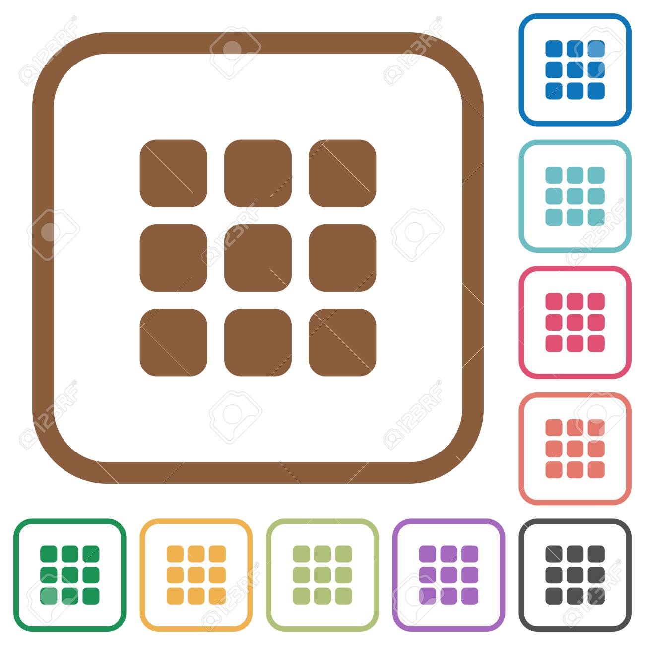 Small Thumbnail View Simple Icons In Color Rounded Square Frames ...