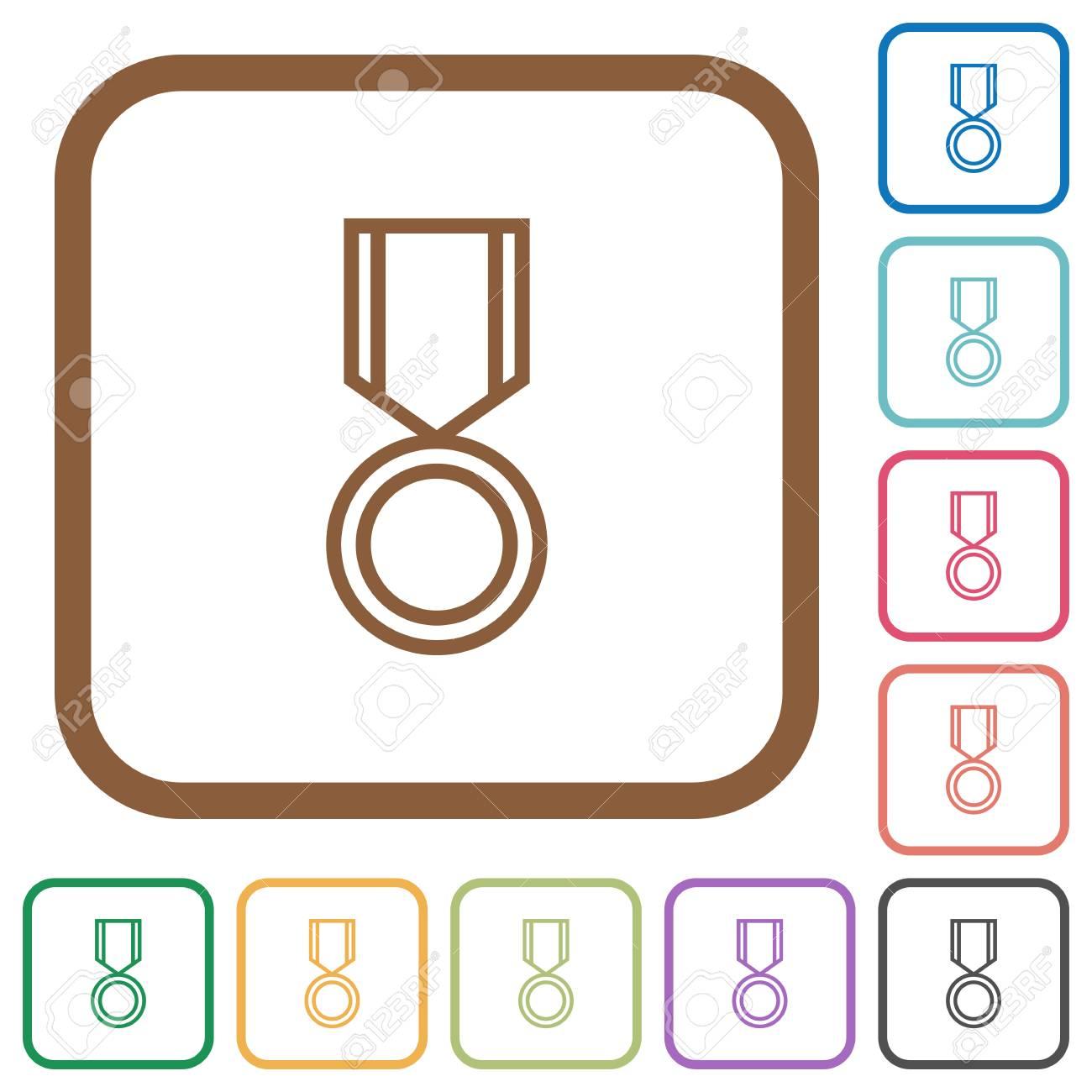 Medal Einfache Symbole In Farbe Gerundet Quadratische Rahmen Auf ...