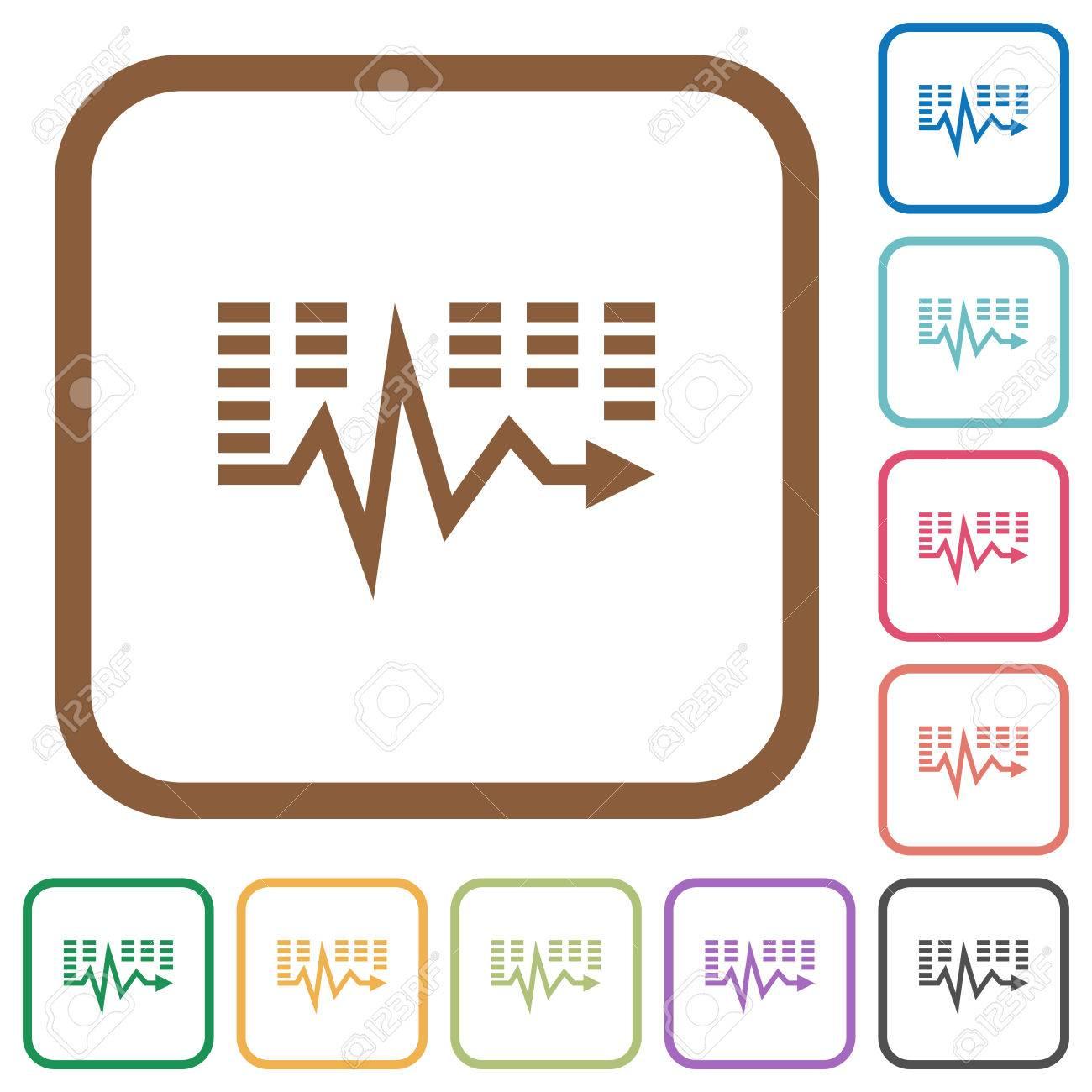 Musik Wellen Einfache Symbole In Farbe Abgerundete Quadratische ...