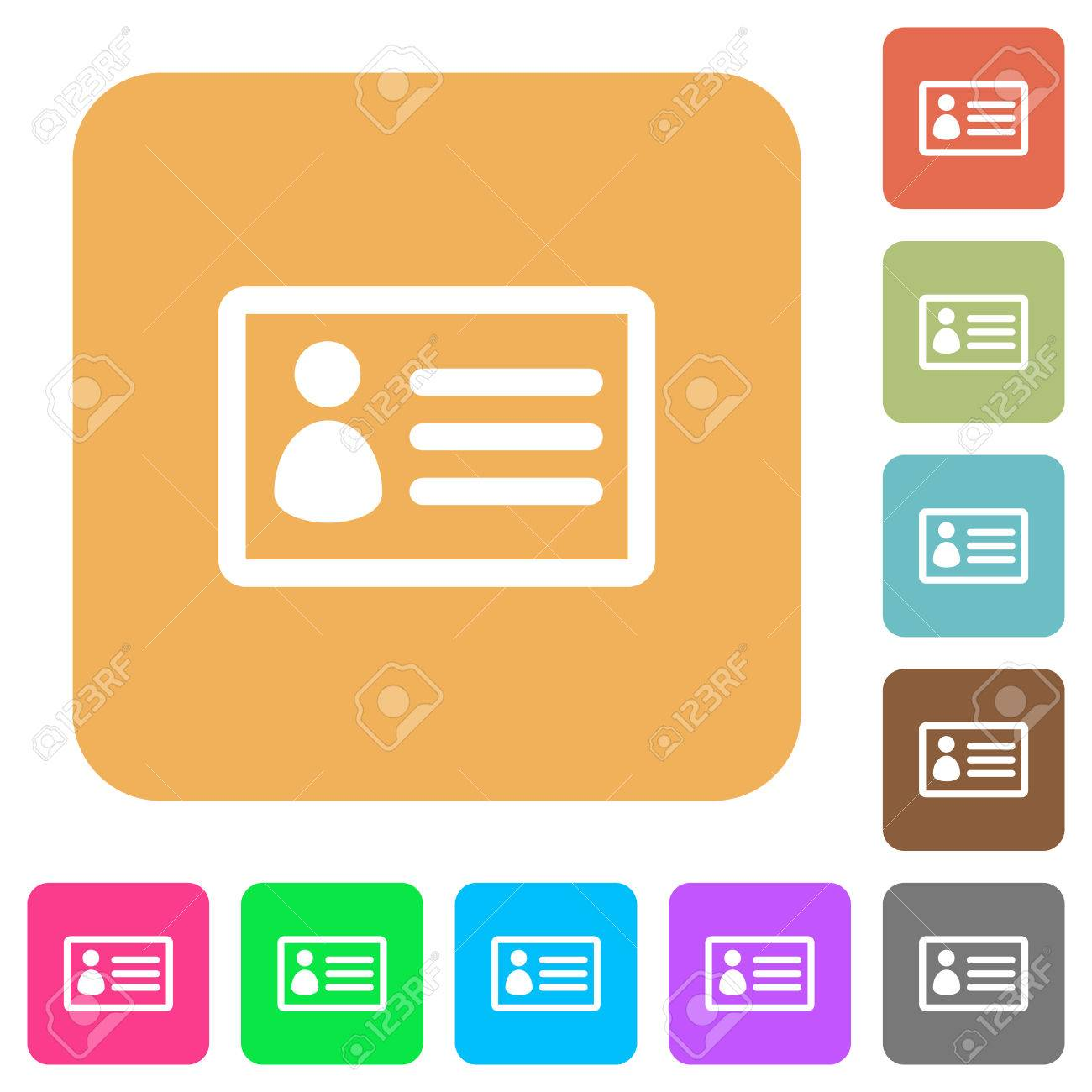 id card icons on rounded square vivid color backgrounds royalty