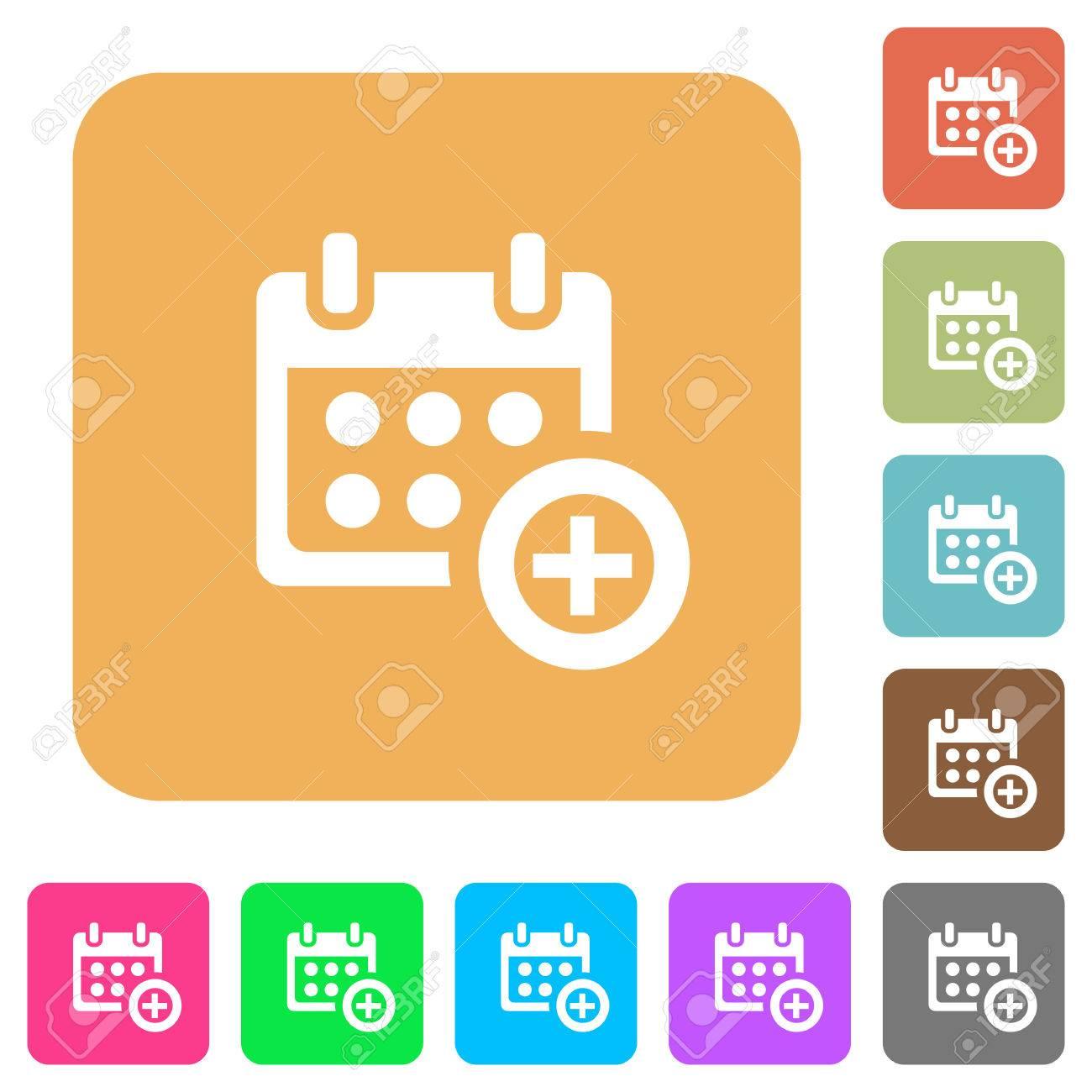 Anadir Calendario.Anadir Al Calendario Iconos Planos Sobre Redondeados Cuadrados Fondos De Colores Vivos