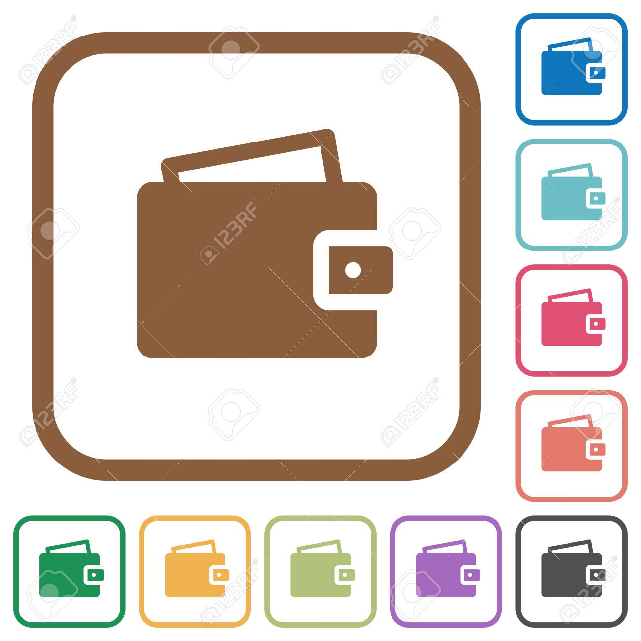 Wallet Simple Icons In Color Rounded Square Frames On White ...