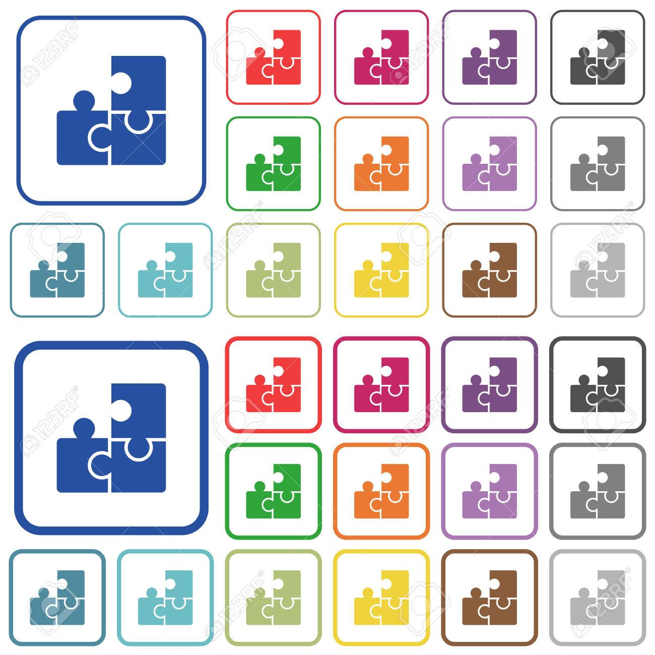 Puzzles Color Flat Icons In Rounded Square Frames. Thin And Thick ...