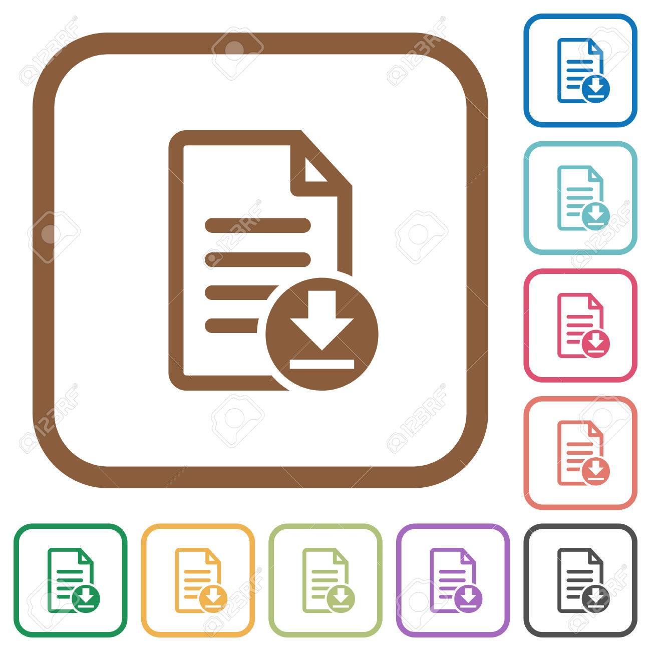 Download Dokument Einfache Symbole In Farbe Gerundet Quadratischen ...