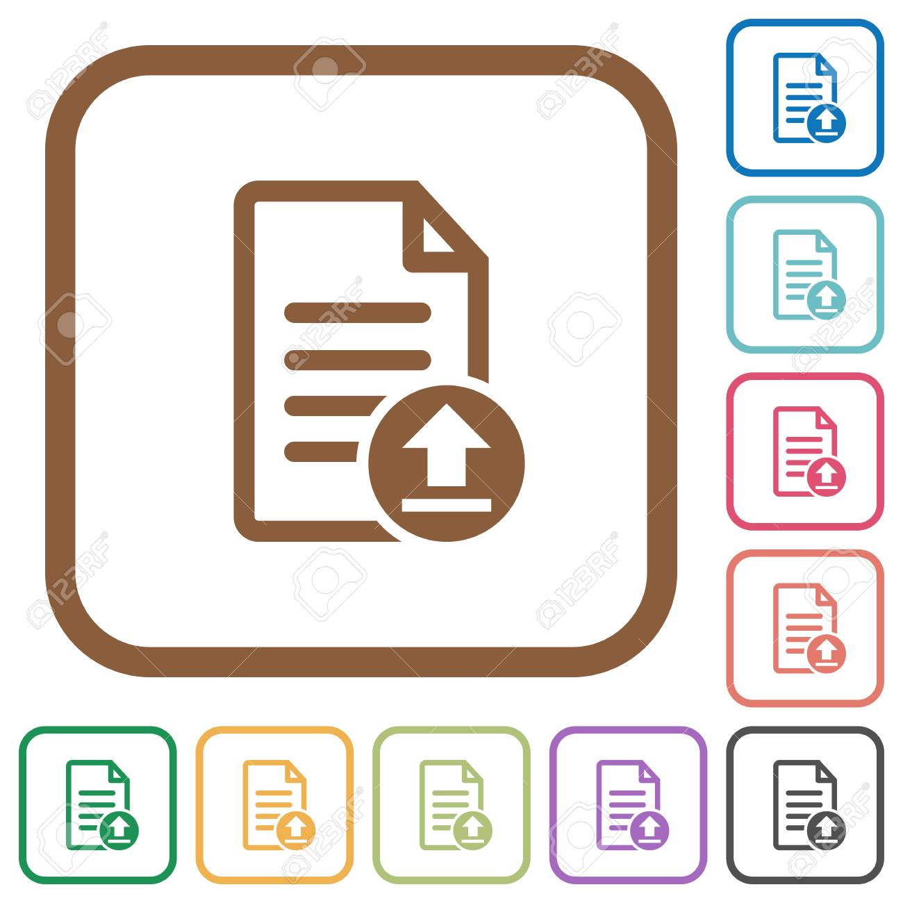 Upload Document Simple Icons In Color Rounded Square Frames On ...