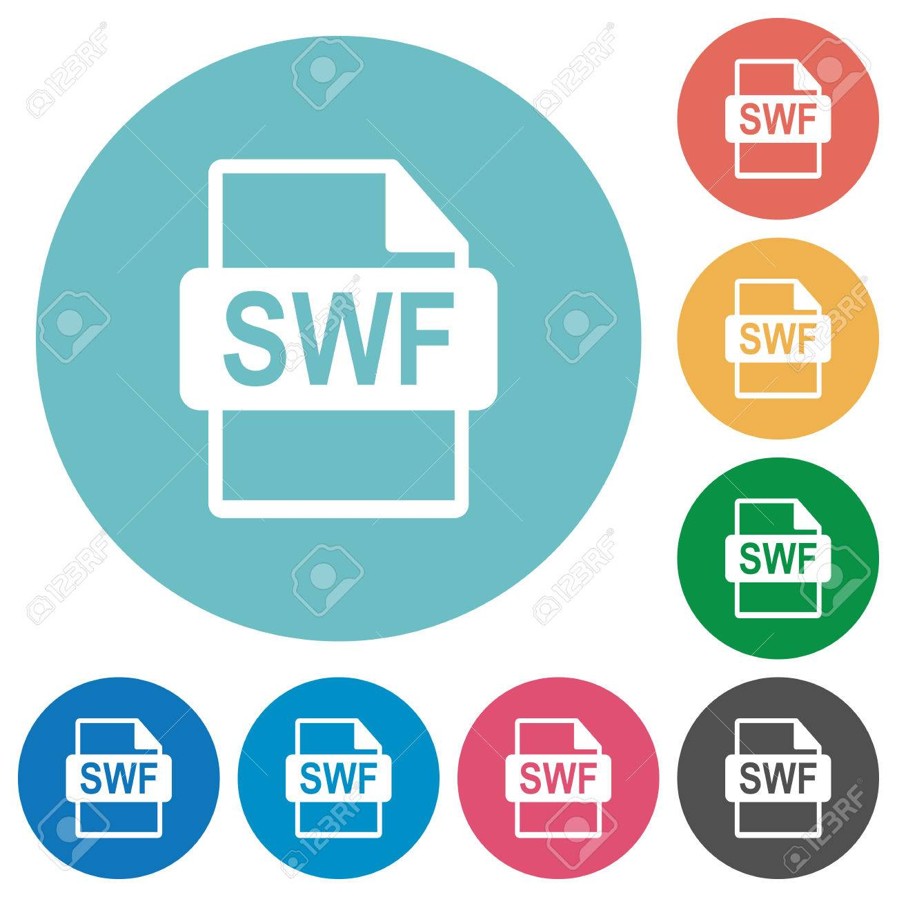 SWF file format flat white icons on round color backgrounds