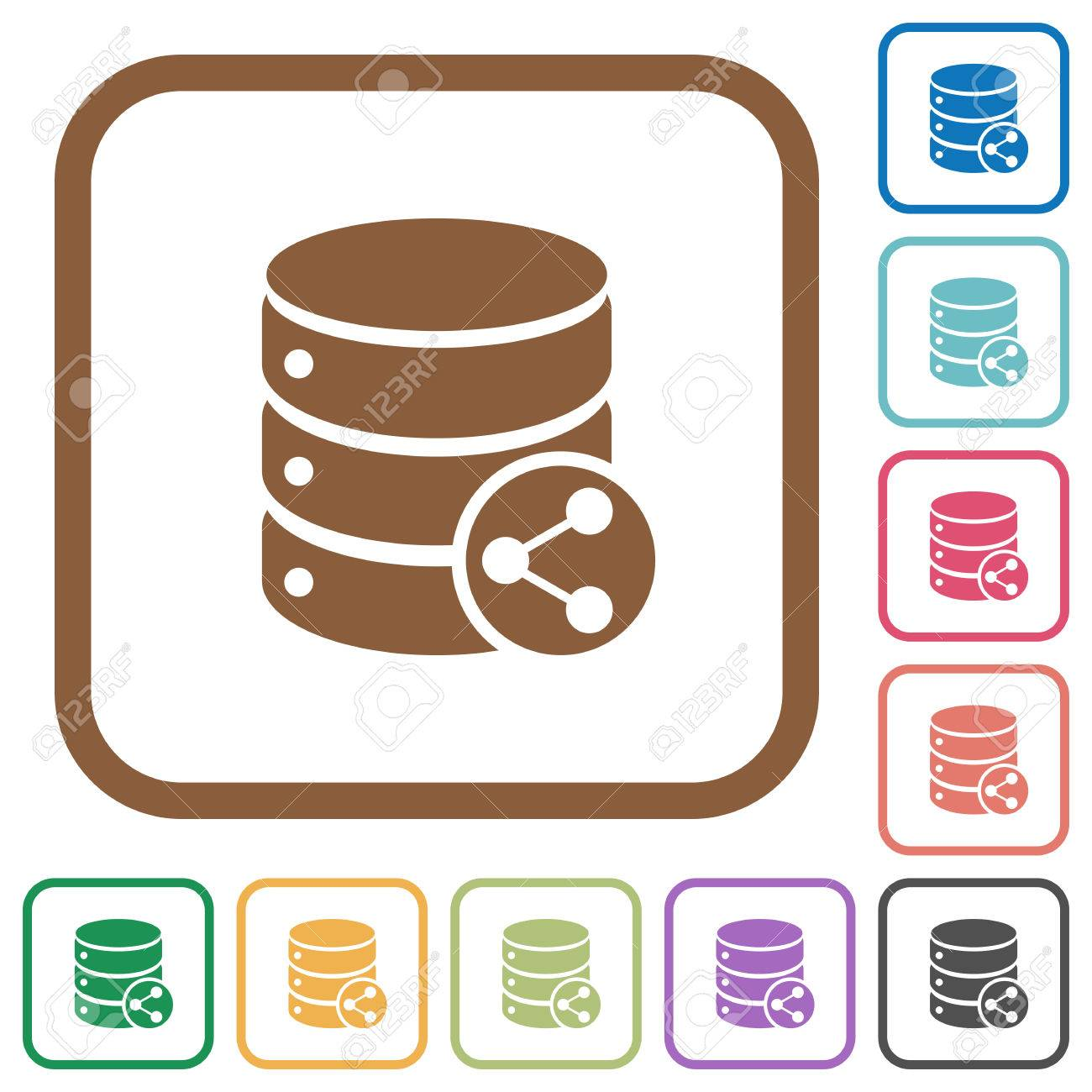 Simple table free other icons - Database Table Relations Simple Icons In Color Rounded Square Frames On White Background Stock Vector