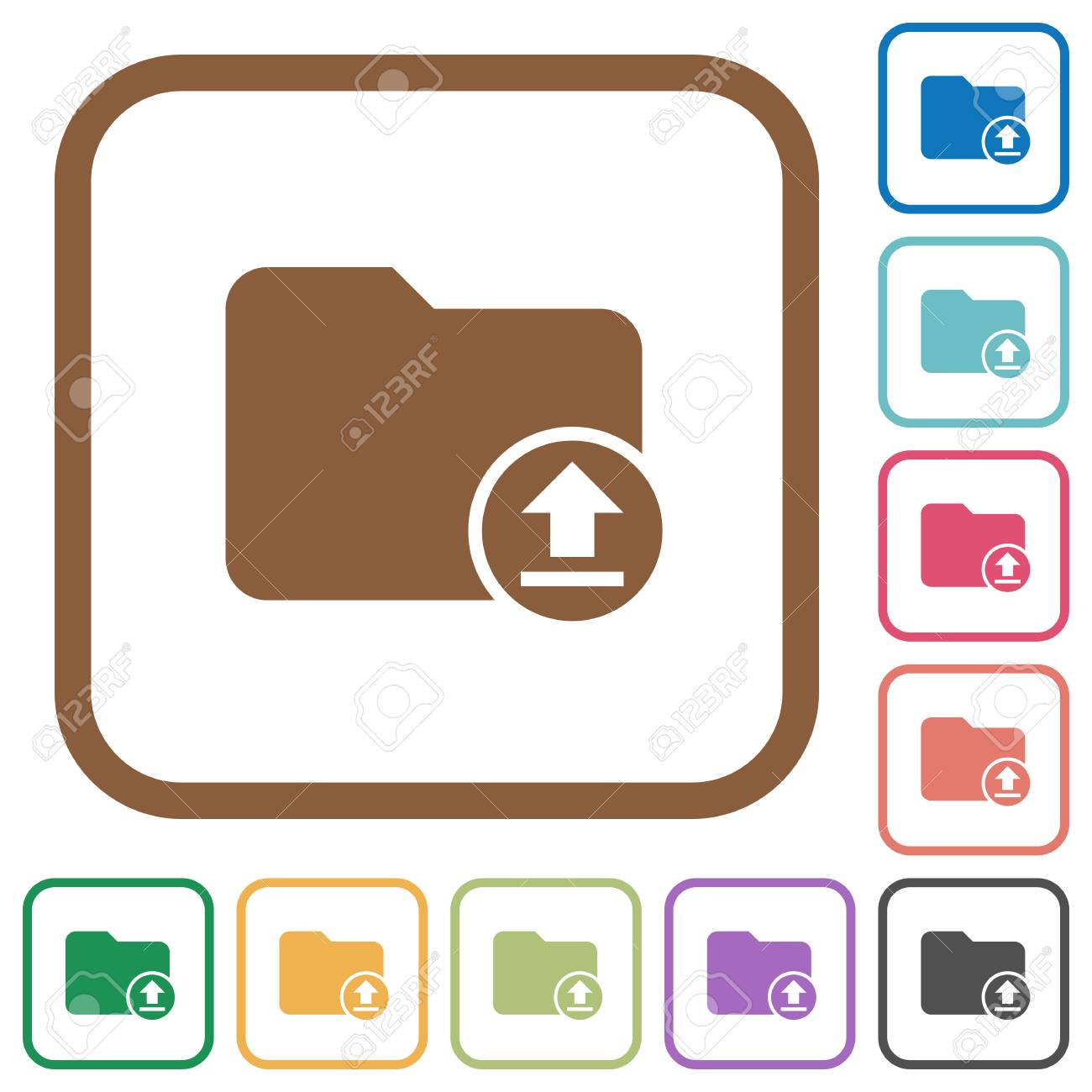 Upload Directory Simple Icons In Color Rounded Square Frames ...