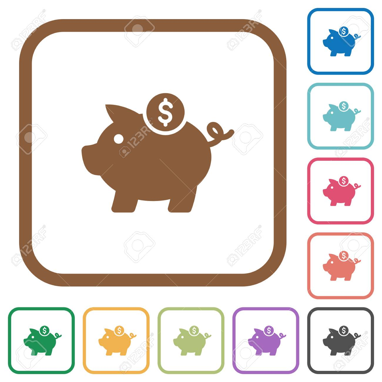 Dollar Piggy Bank Simple Icons In Color Rounded Square Frames ...