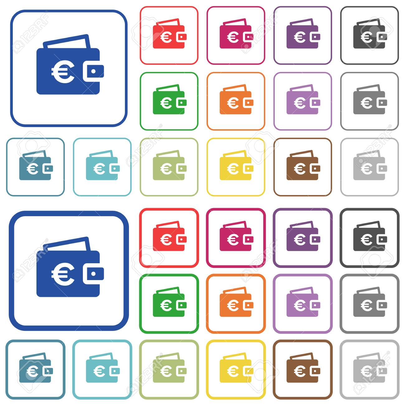 Euro Wallet Color Flat Icons In Rounded Square Frames. Thin And ...