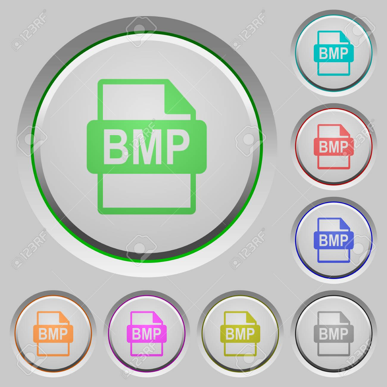 BMP file format color icons on sunk push buttons