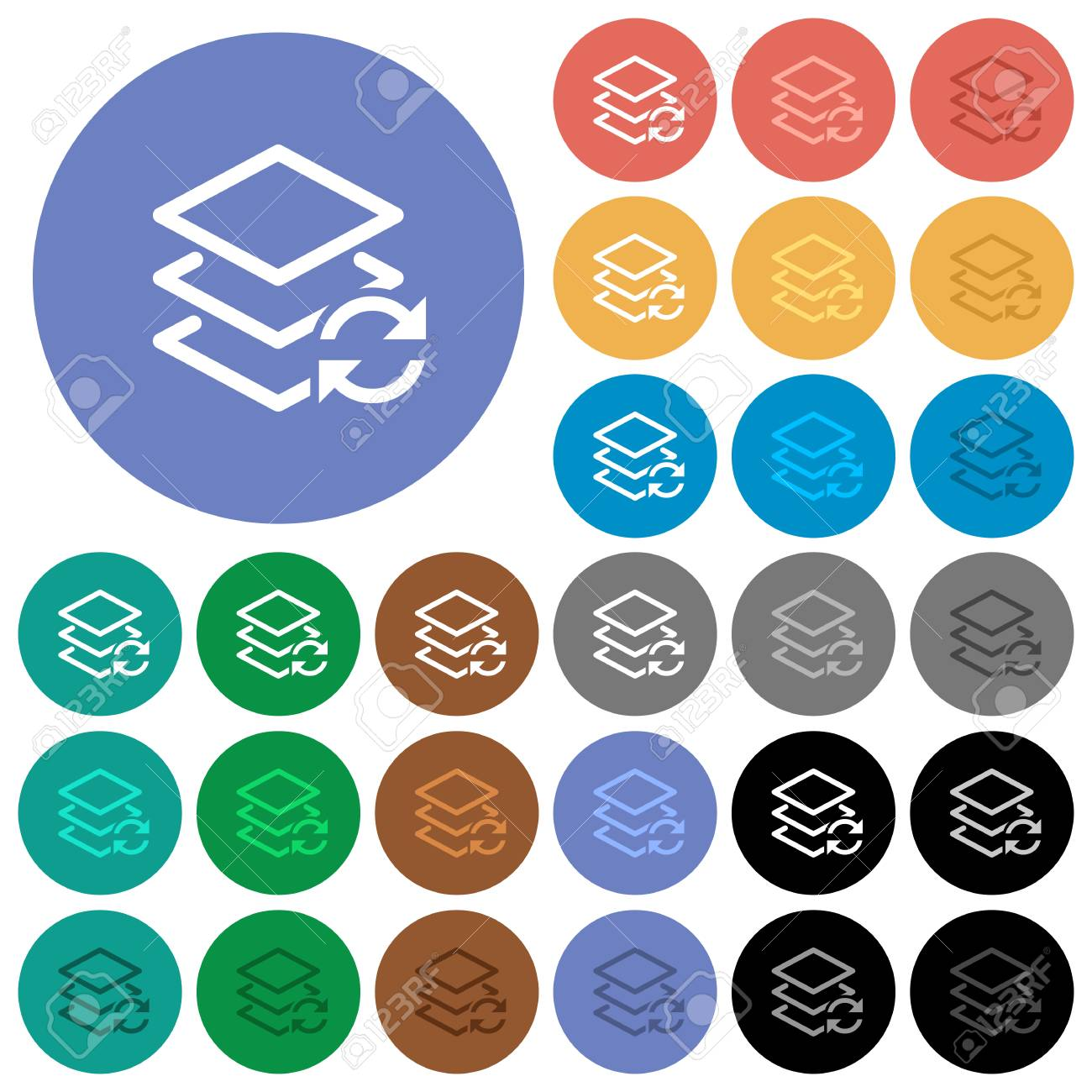 Swap layers multi colored flat icons on round backgrounds  Included