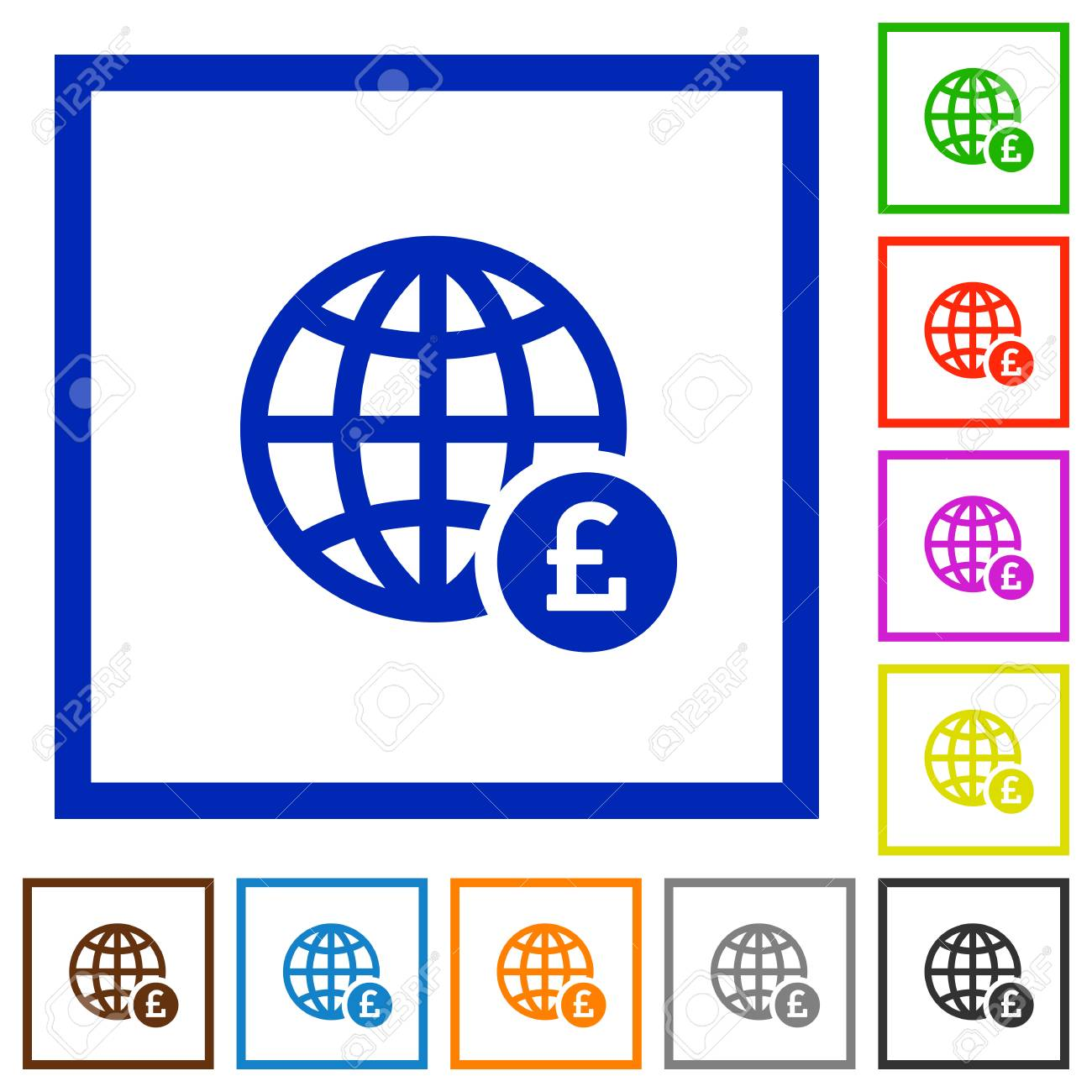 Online Pound Payment Flat Color Icons In Square Frames On White ...