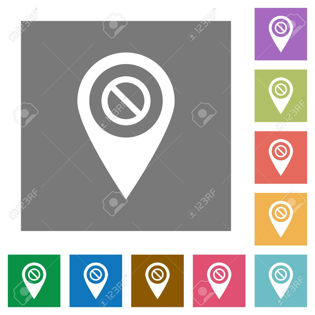 Deaktiviert GPS-Karte Lage Flache Symbole Auf Einfache Farbe Quadrat ...
