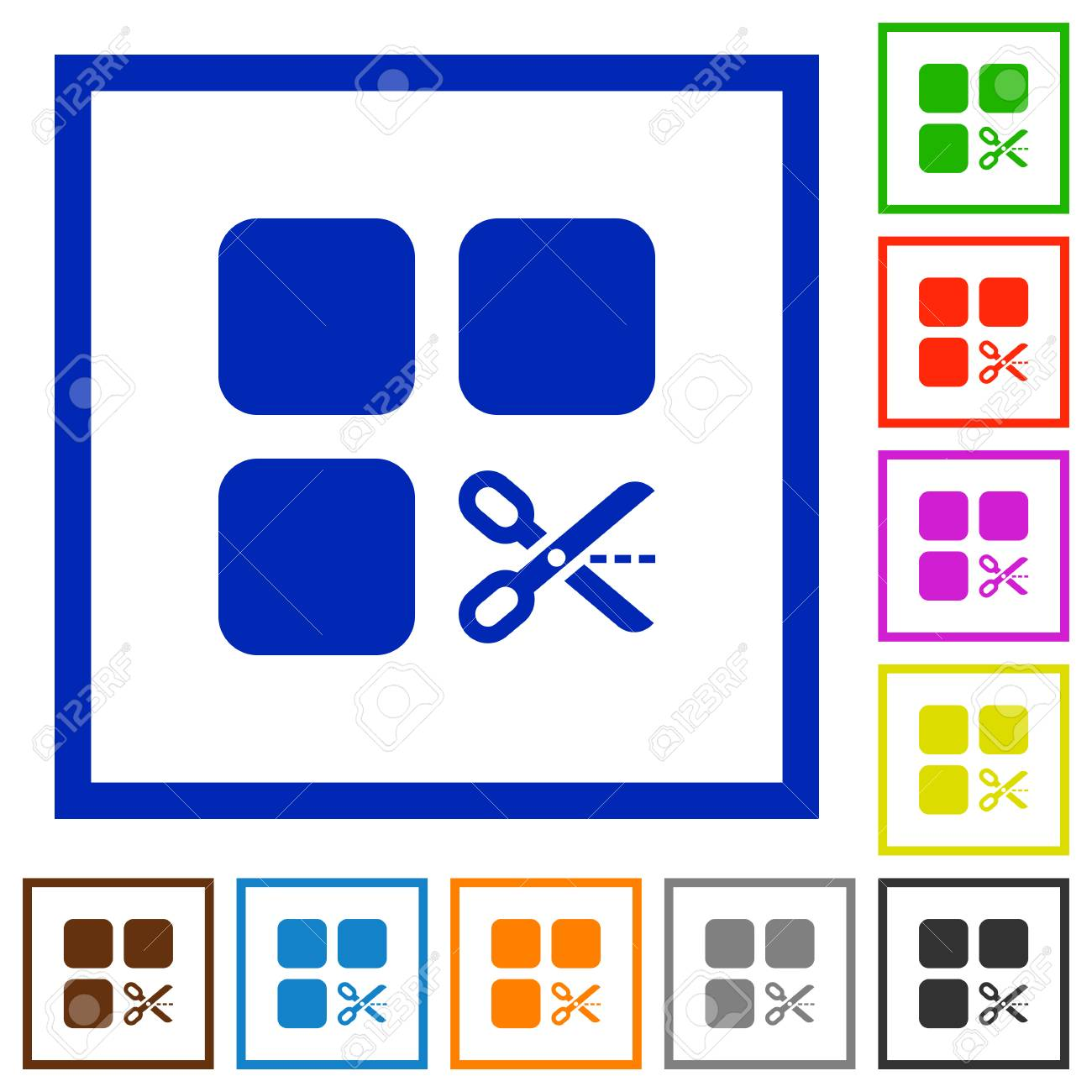 Cut Component Flat Color Icons In Square Frames On White Background ...