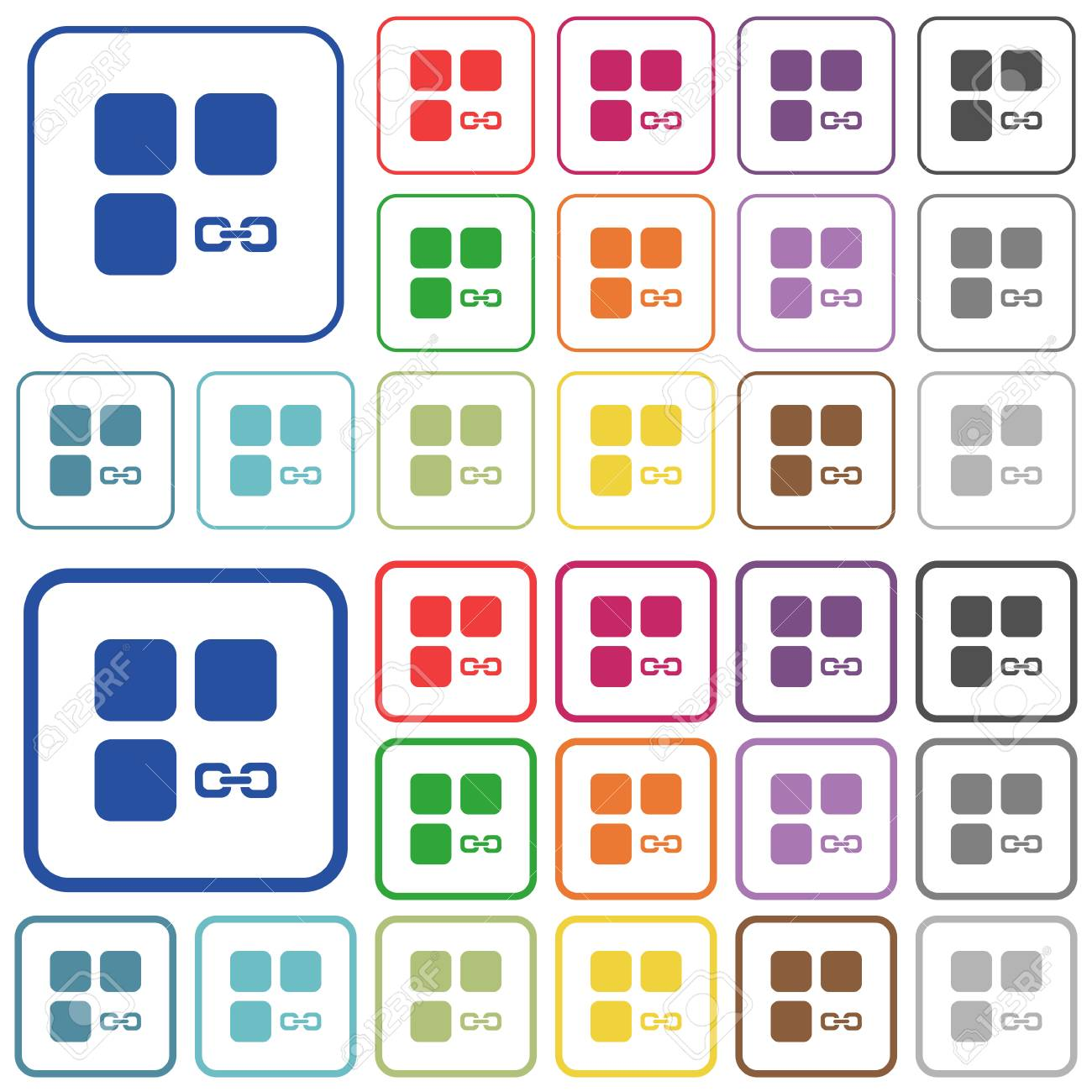 Link-Komponente Farbe Flache Symbole In Abgerundeten Quadratischen ...