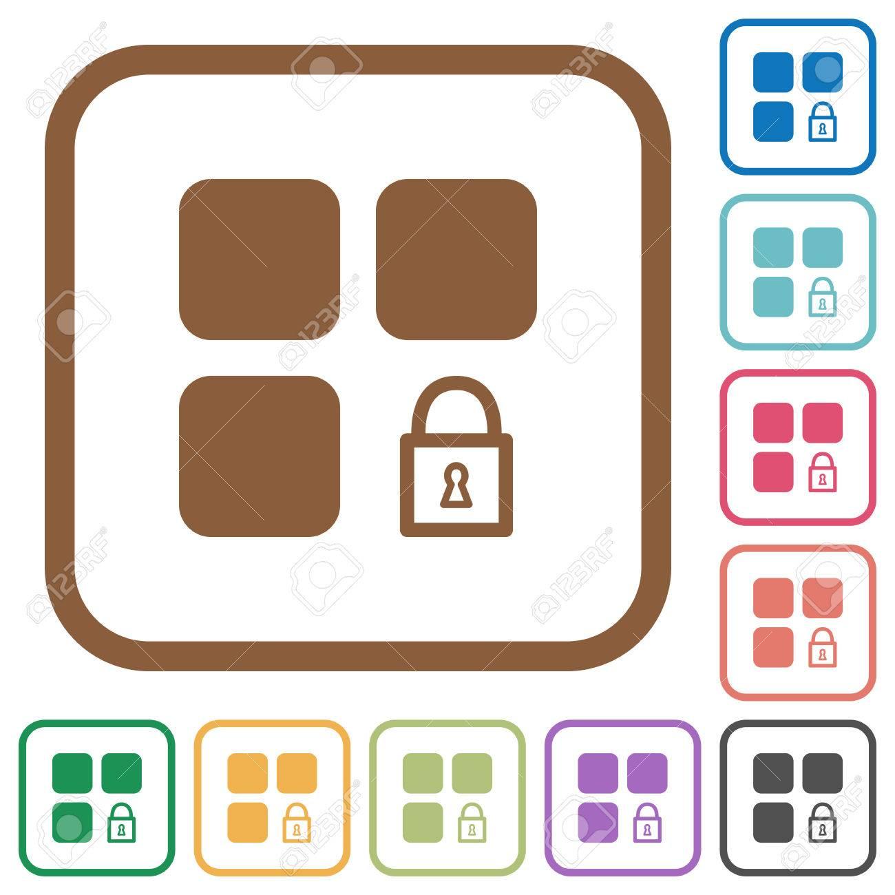 Lock-Komponente Einfache Symbole In Farbe Abgerundeten Quadratischen ...