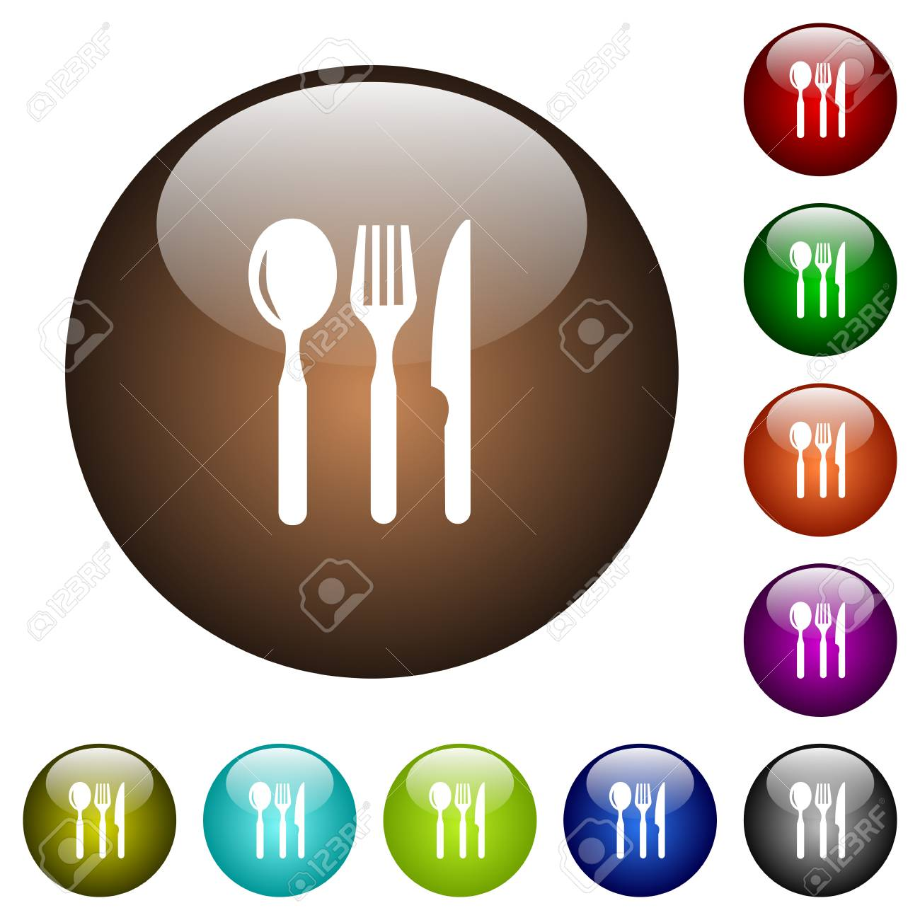 Restaurant White Icons On Round Color Glass Buttons