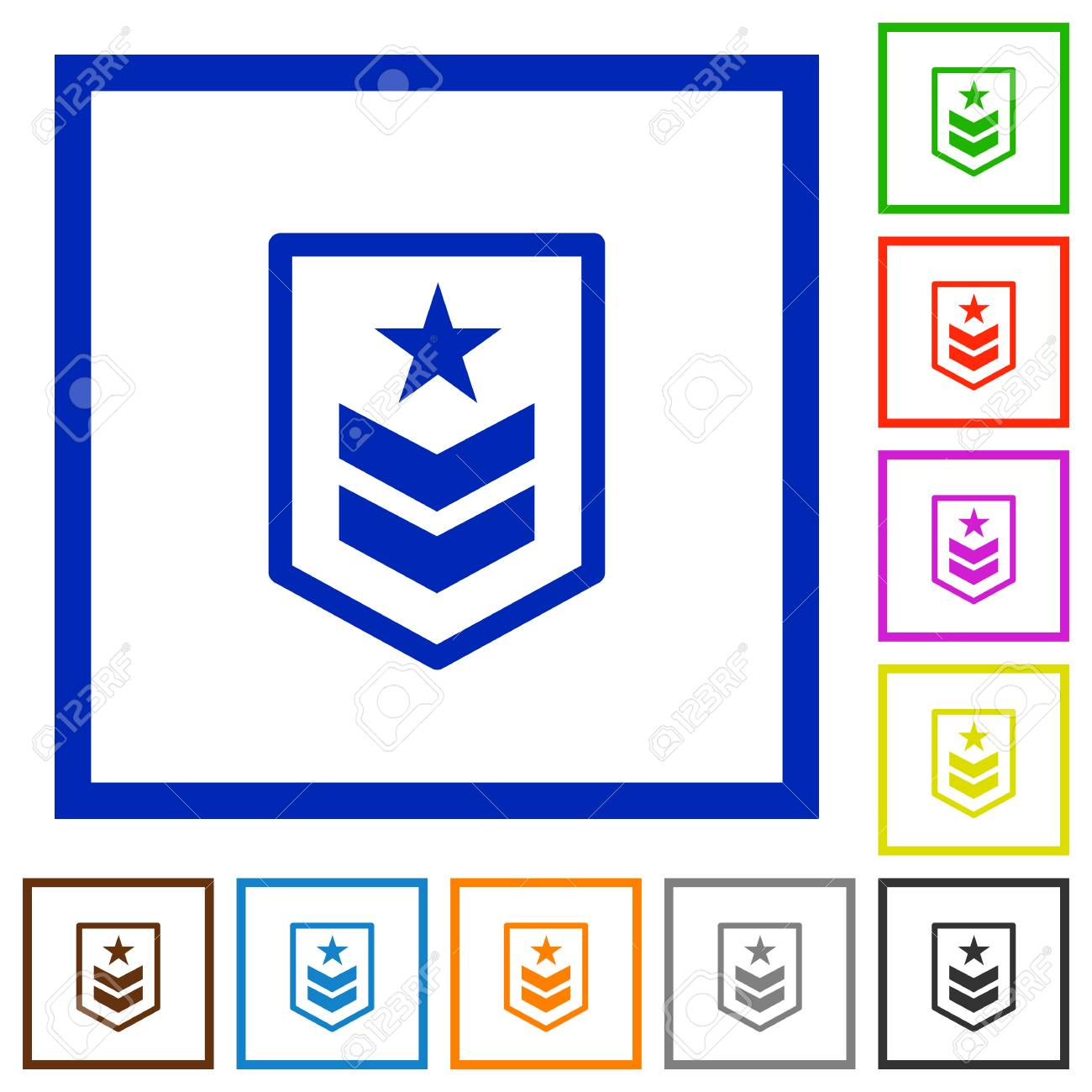 Military Rank Flat Color Icons In Square Frames On White Background ...