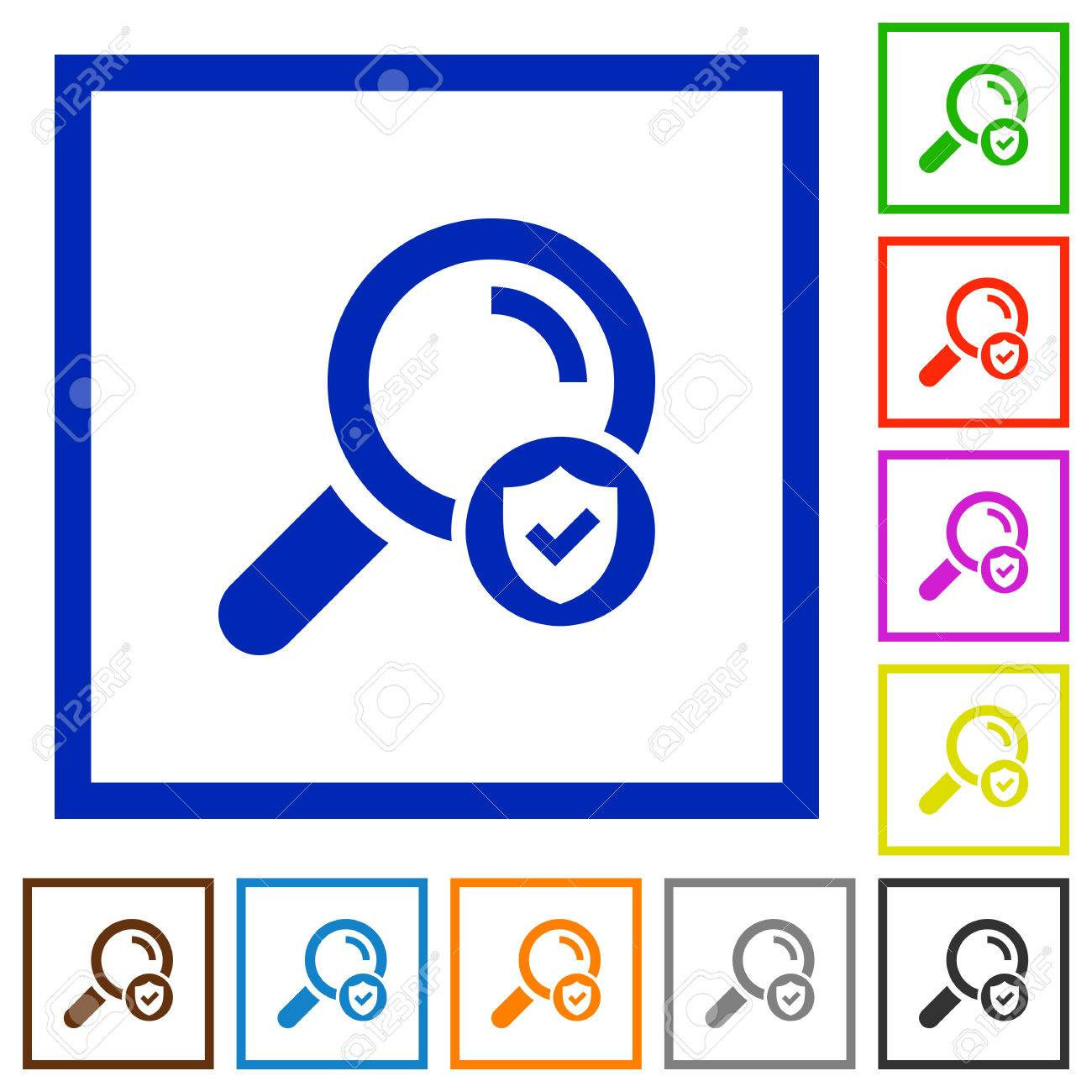 Safe Search Flat Color Icons In Square Frames On White Background ...