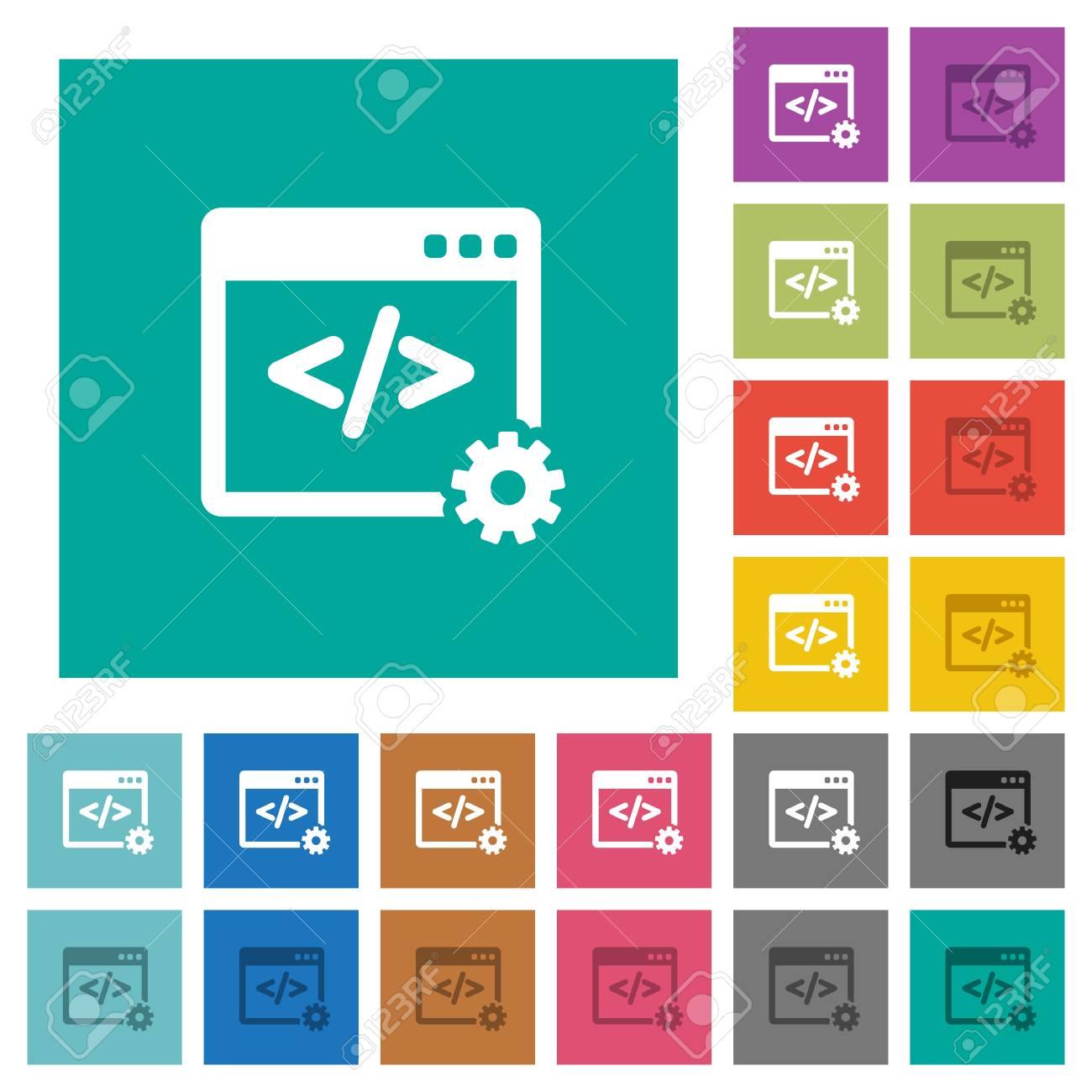 Web Development Multi Colored Flat Icons On Plain Square