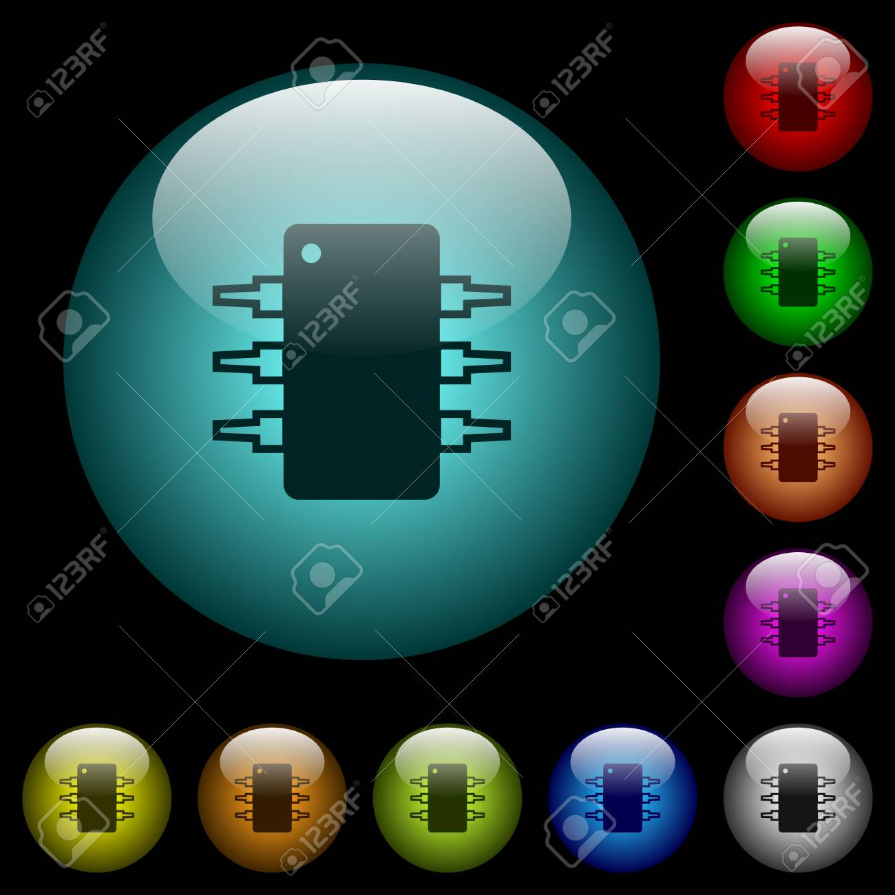 Integrated Circuit Icons In Color Illuminated Spherical Glass ...