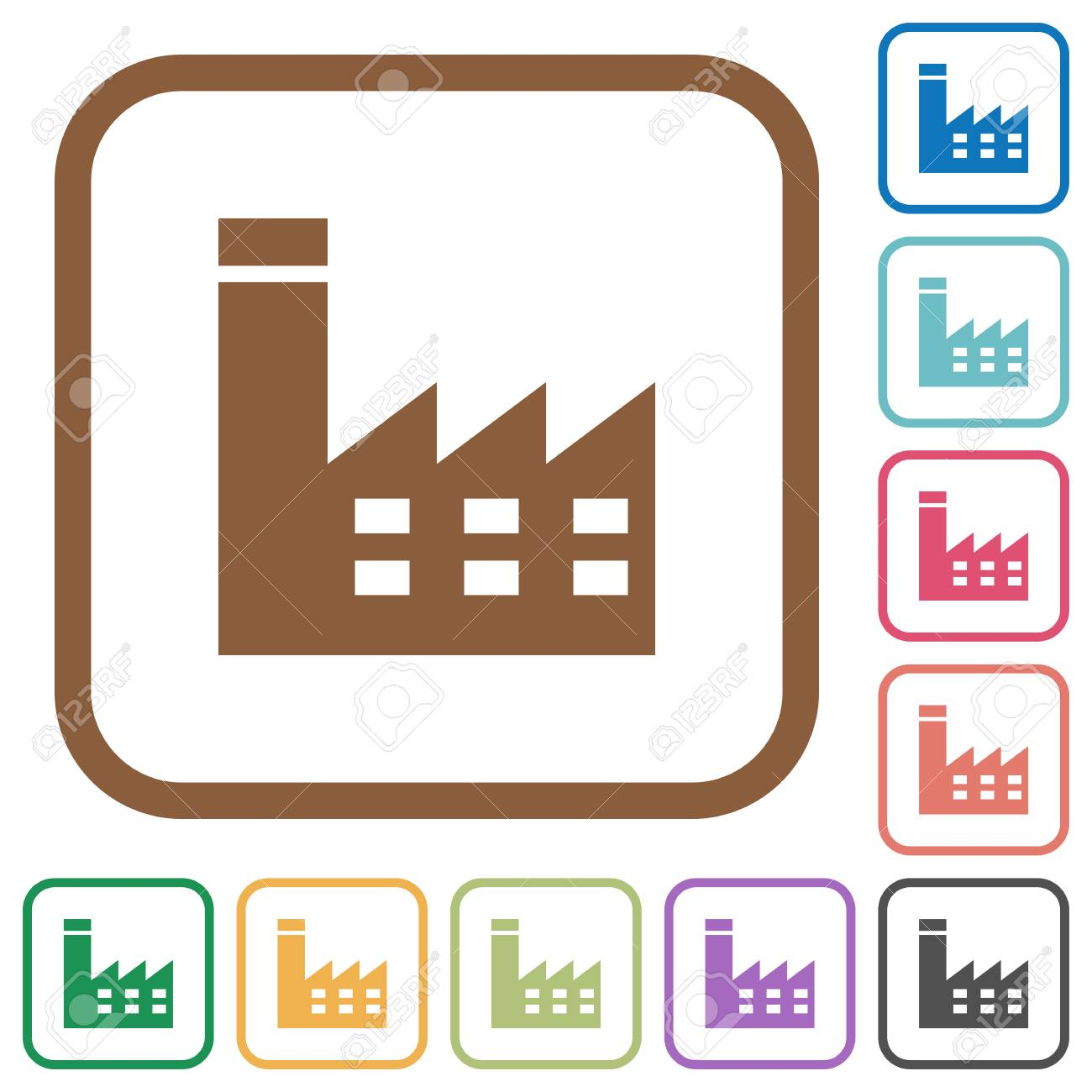 Factory Building Simple Icons In Color Rounded Square Frames ...