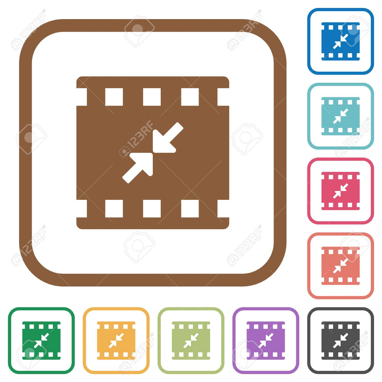 Movie Resize Small Simple Icons In Color Rounded Square Frames ...