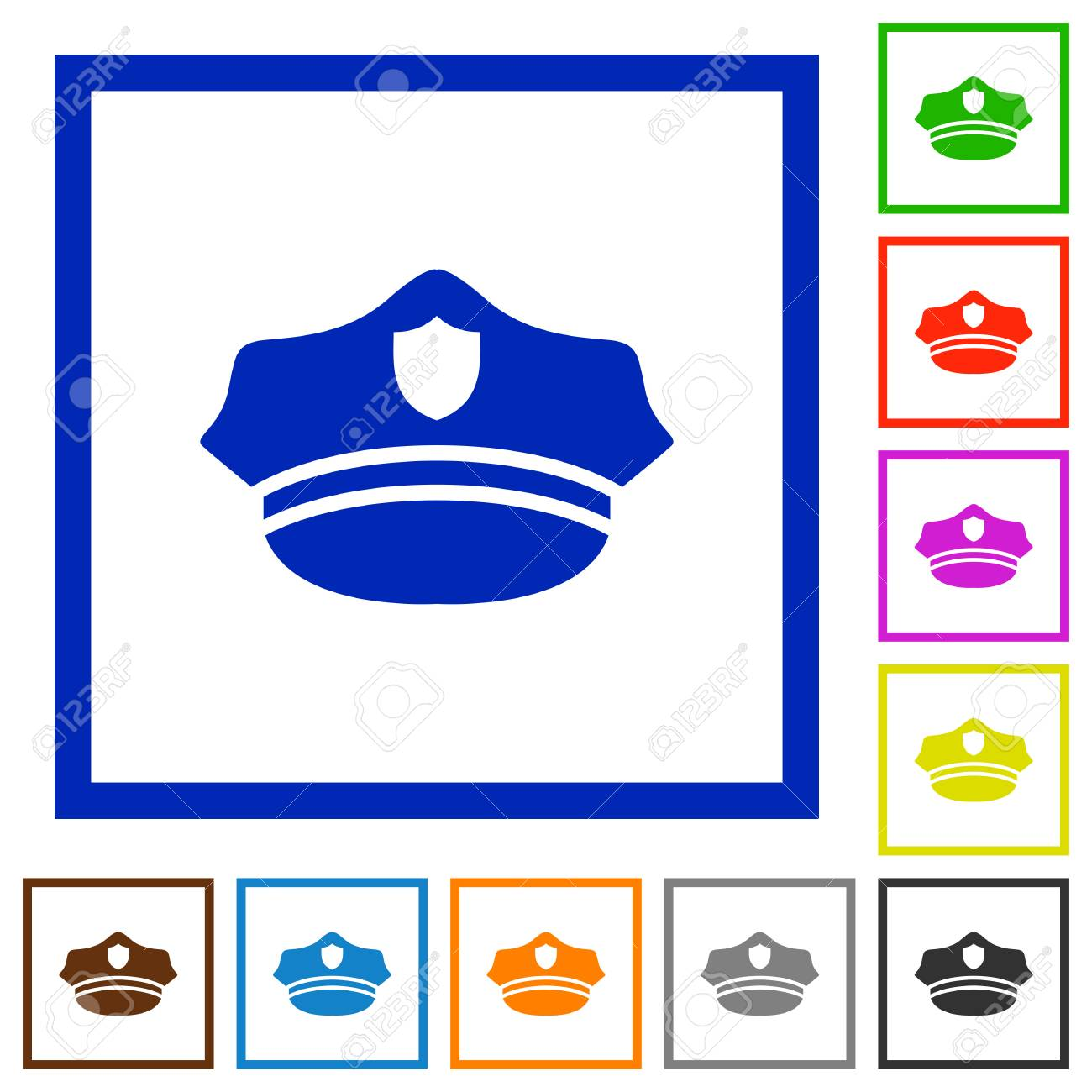 Police Hat Flat Color Icons In Square Frames On White Background ...
