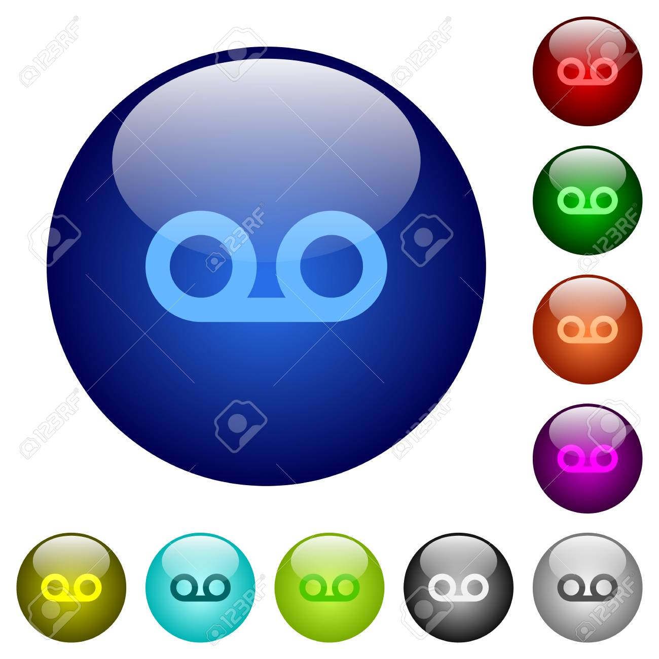 voicemail icons on round color glass buttons royalty free cliparts