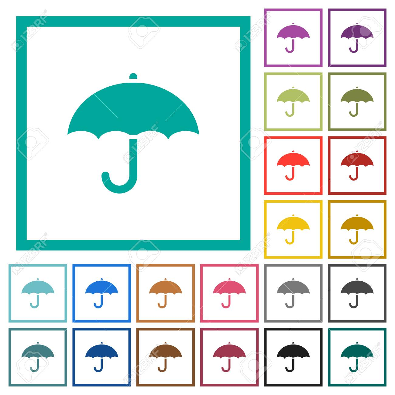 Umbrella Flat Color Icons With Quadrant Frames On White Background ...