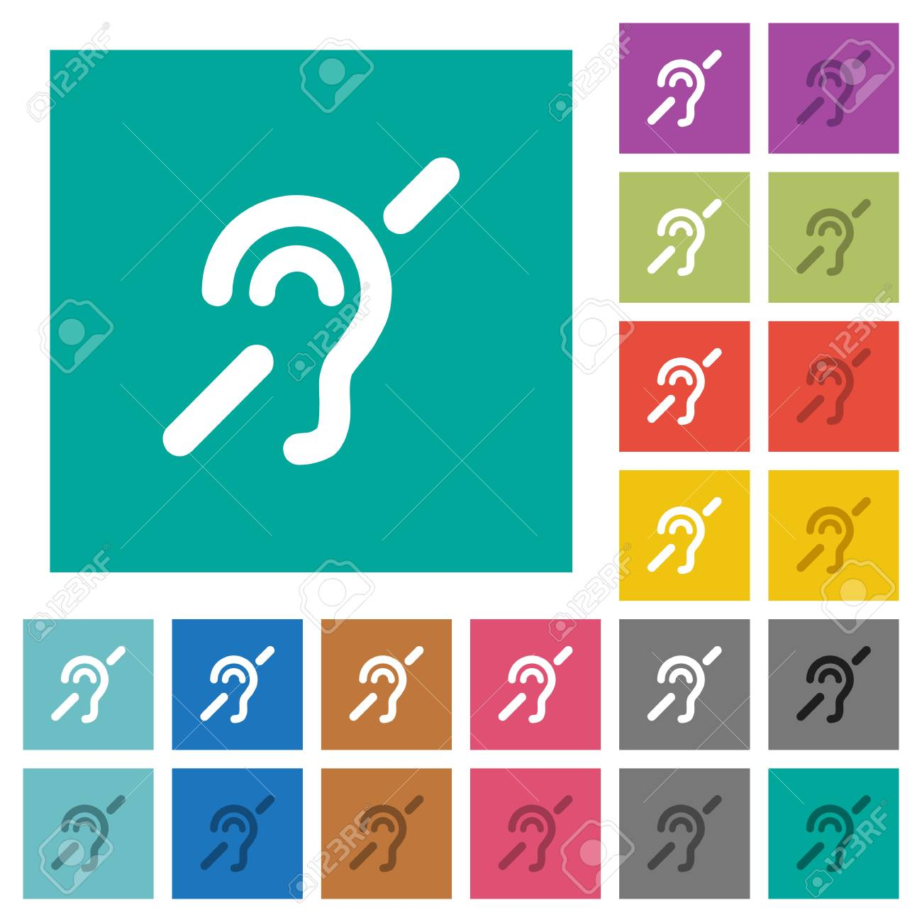 Hearing Impaired Multi Colored Flat Icons On Plain Square