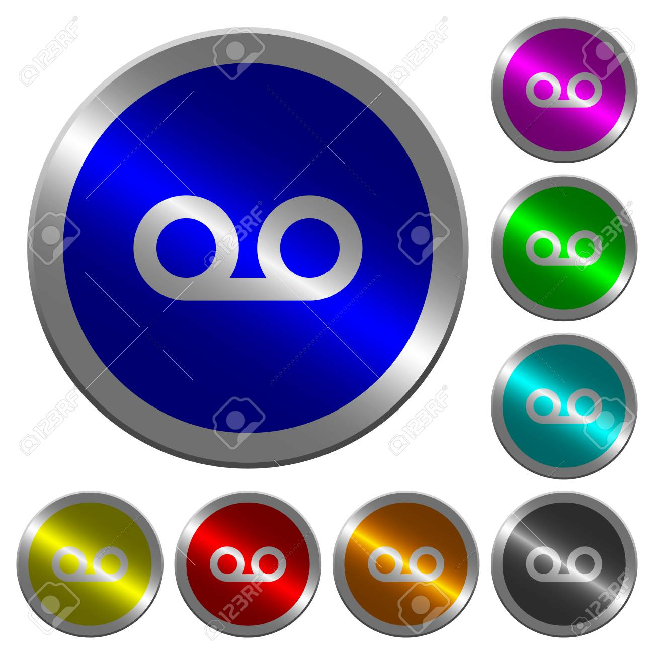 voicemail icons on round luminous coin like color steel buttons